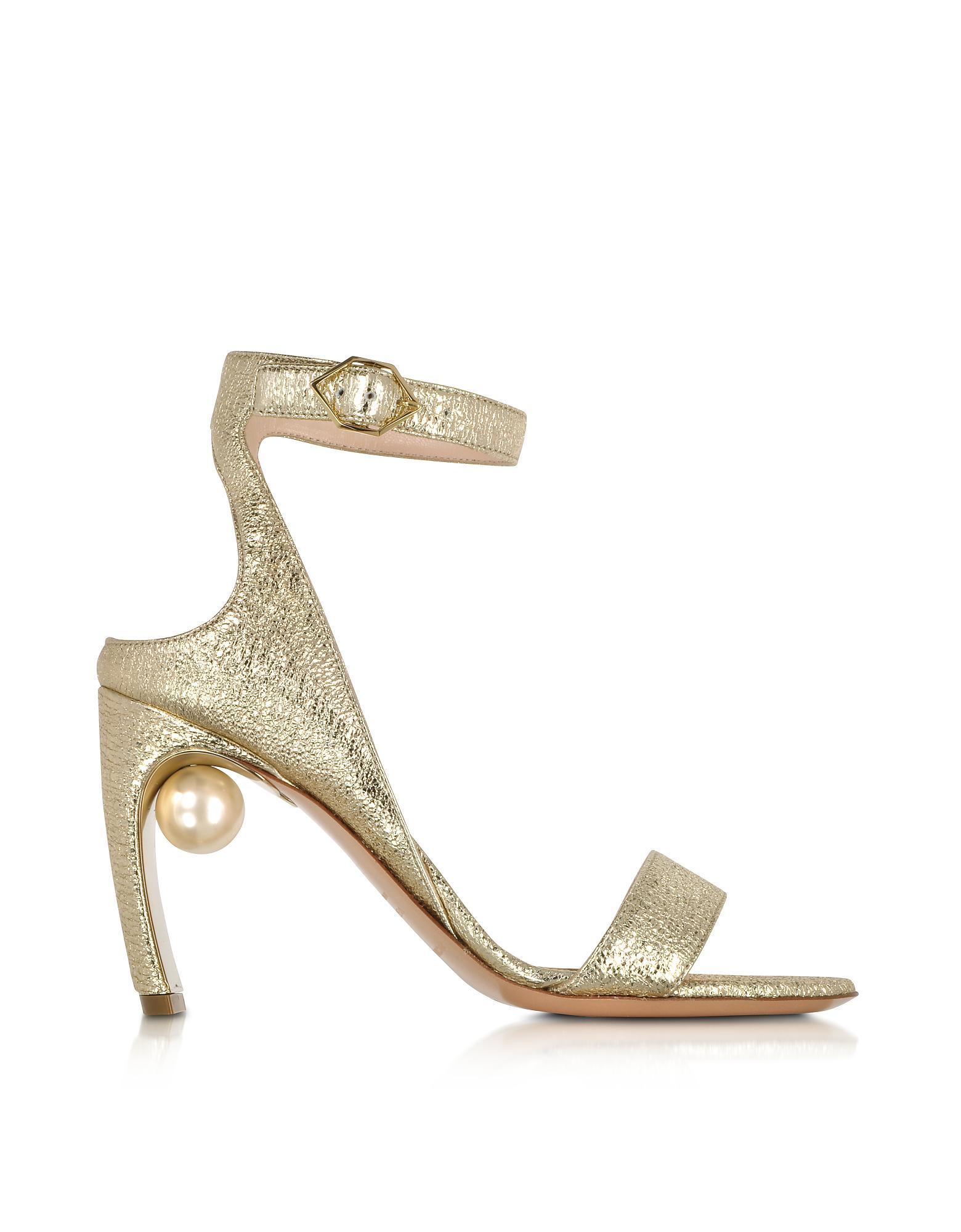 Silver Lola Pearl 90 Leather sandals - Metallic Nicholas Kirkwood e8CyN754