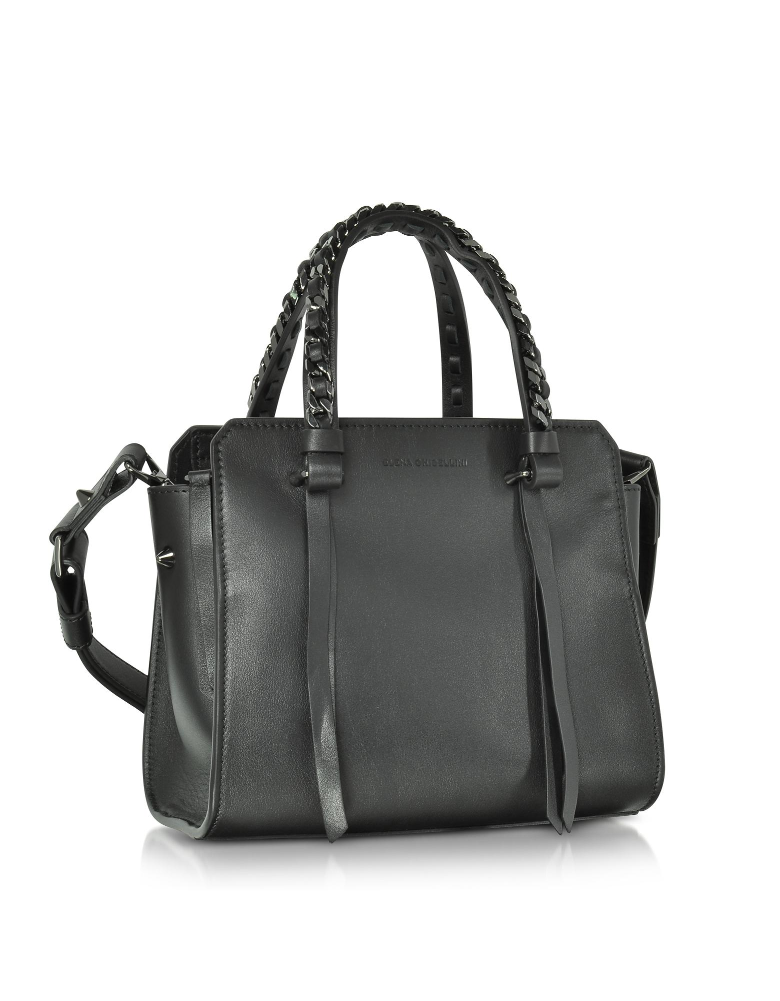 42d020f21ba Elena Ghisellini Small Usonia Sensua Black Leather Tote Bag in Black ...