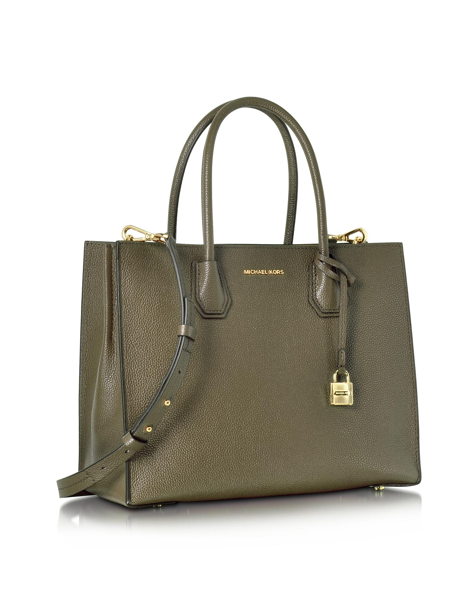a3ff9247312d18 Michael Kors Mercer Large Convertible Olive Green Bonded-leather ...