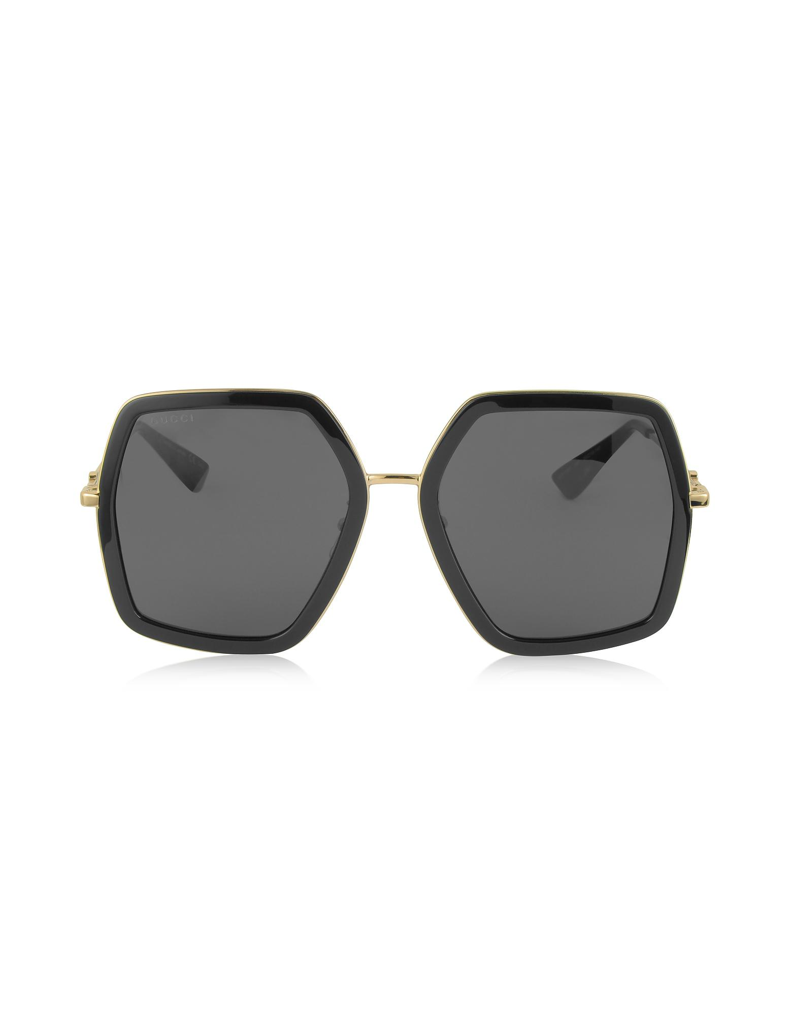 902ddc1ed3fdc Gucci. GG0106S 001 Black Acetate And Gold Metal Square Oversized Women s  Sunglasses