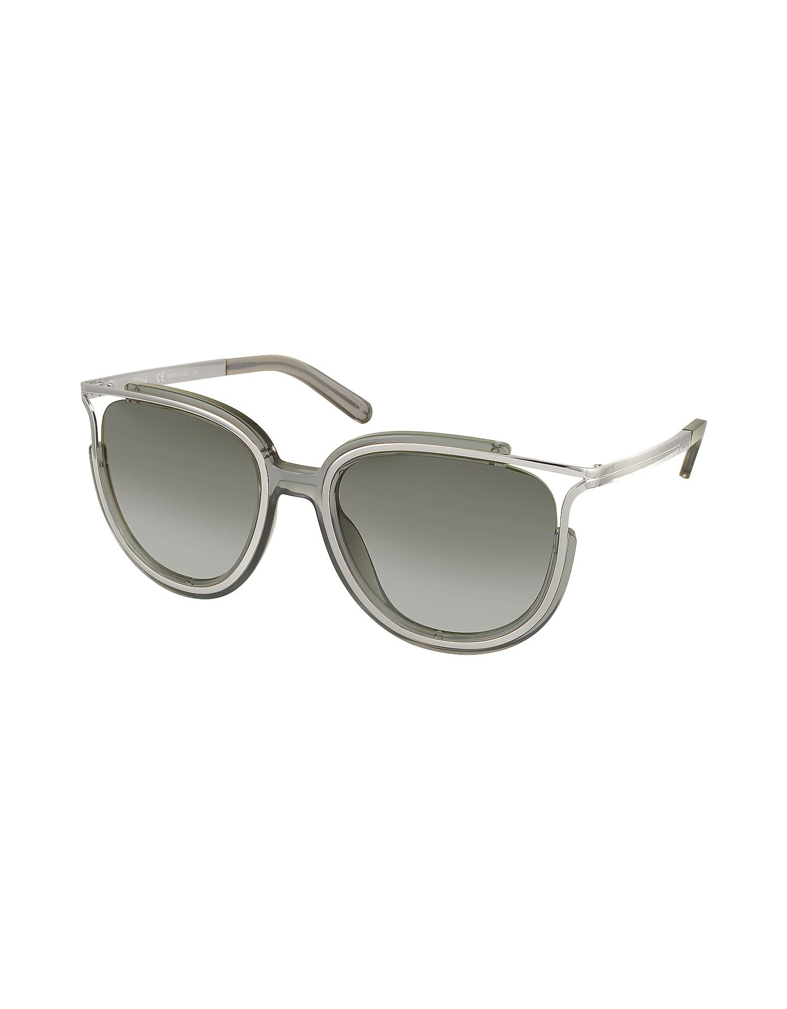 2e235b19cb4 Chloé Jayme Ce 688s 036 Gray Acetate And Silver Metal Square Women s ...