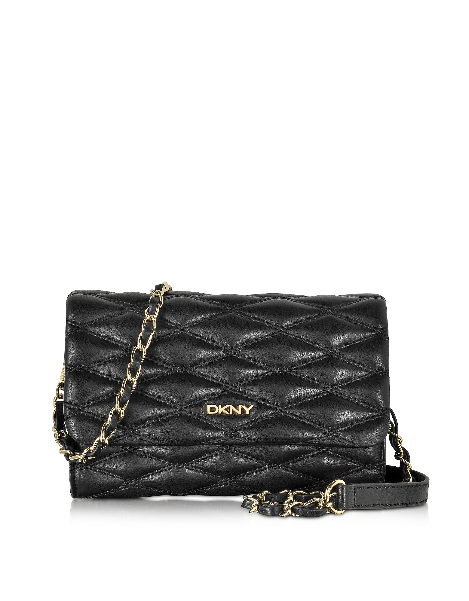 Dkny Black Quilted Leather Small Flap Crossbody Bag In