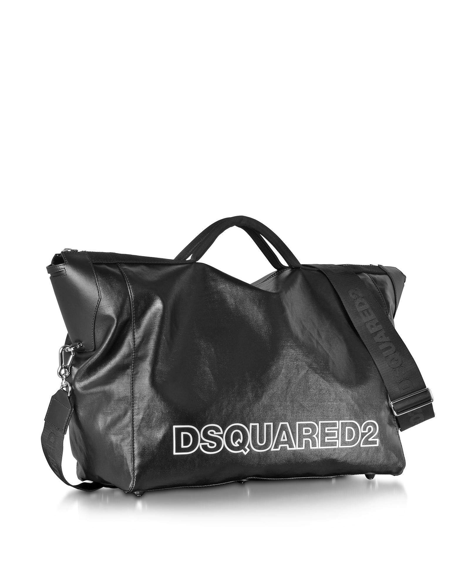 b806c5307011 DSquared² Oversized Black Leather Duffle Bag in Black for Men - Lyst