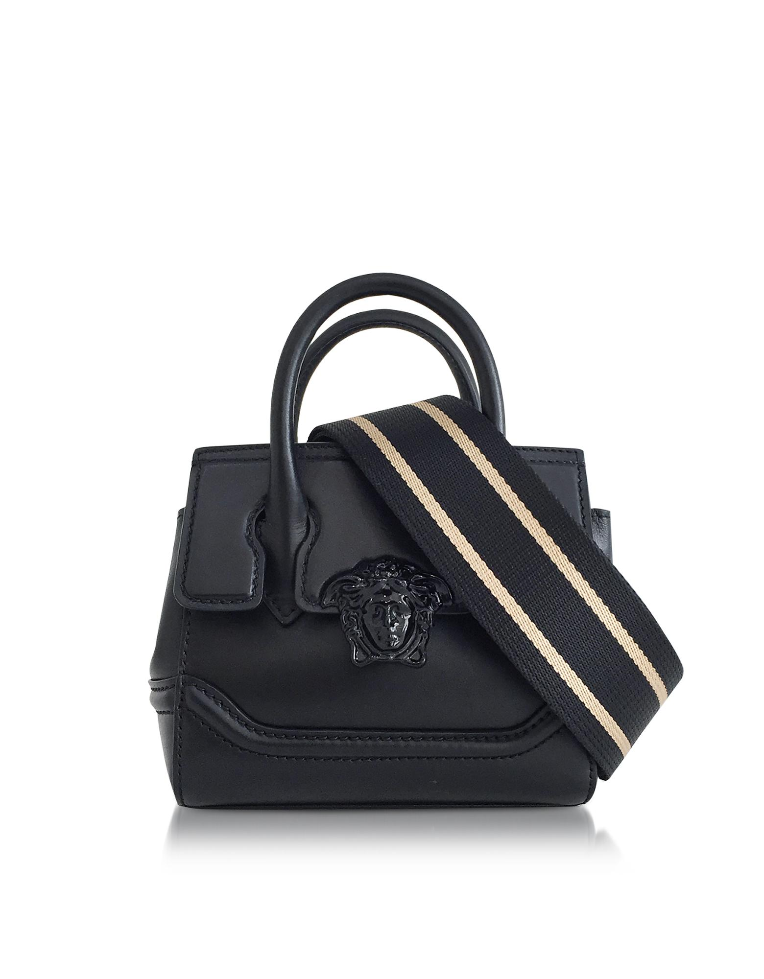 b67a944047b0 Lyst - Versace Palazzo Empire Black Leather Mini Handbag in Black