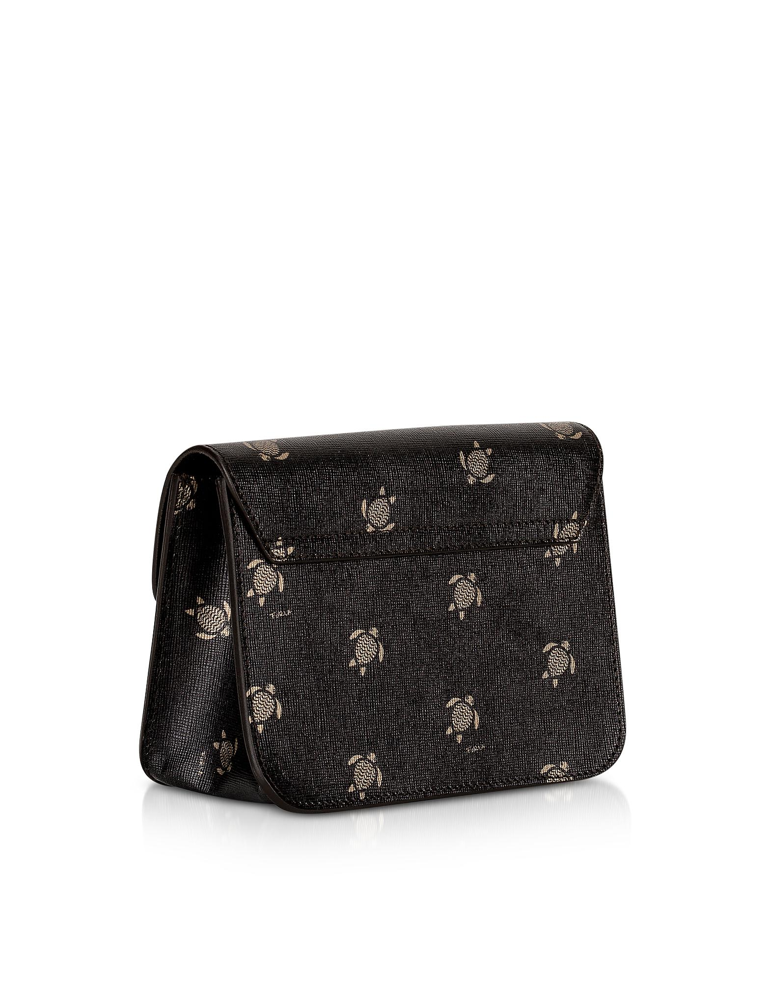 3557a2d755c6 Lyst - Furla Toni Onyx Mini Turtle Printed Saffiano Leather ...