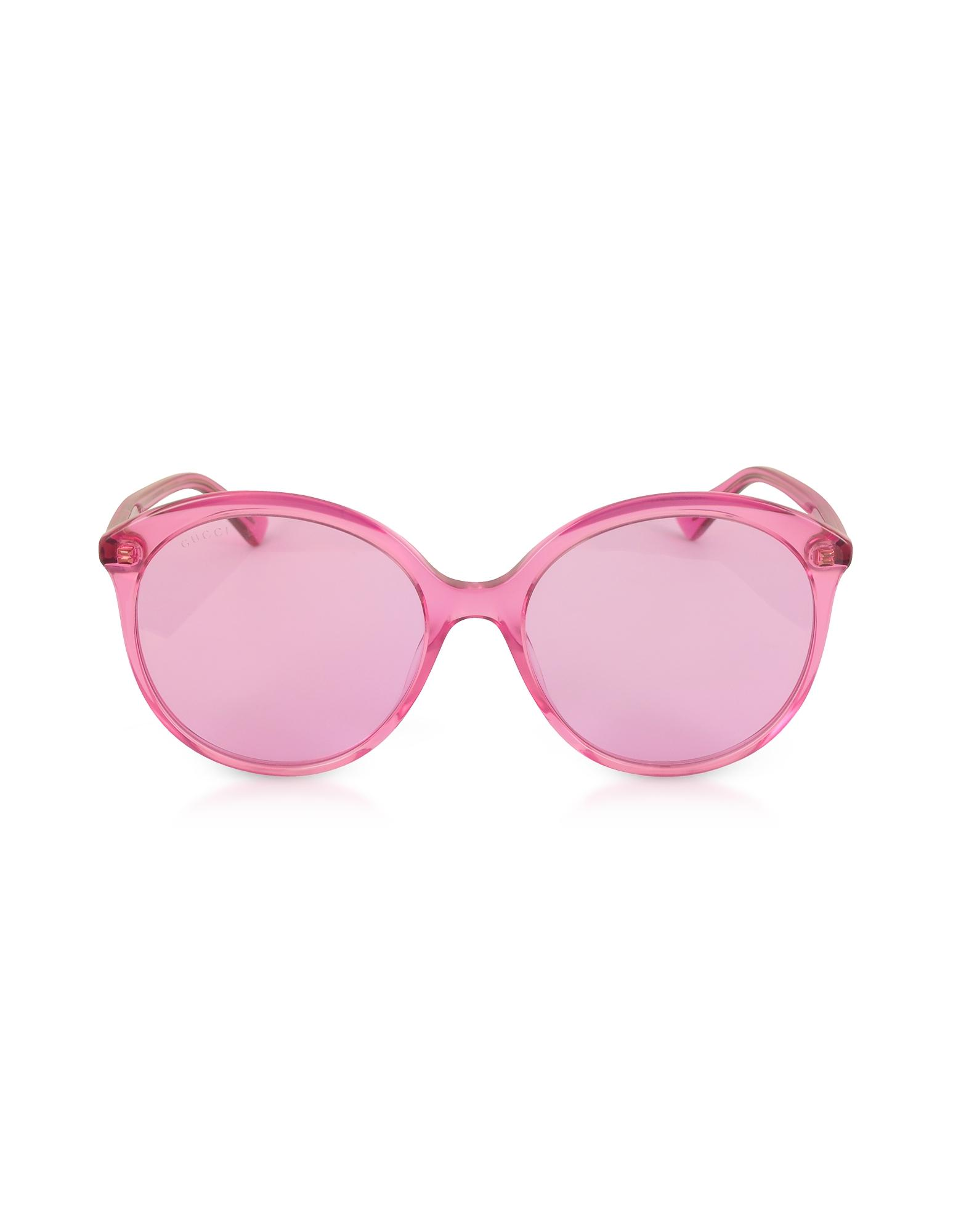 04324b4f05 Lyst - Gucci GG0257S Specialized Fit Round-frame Transparent Fuchsia ...