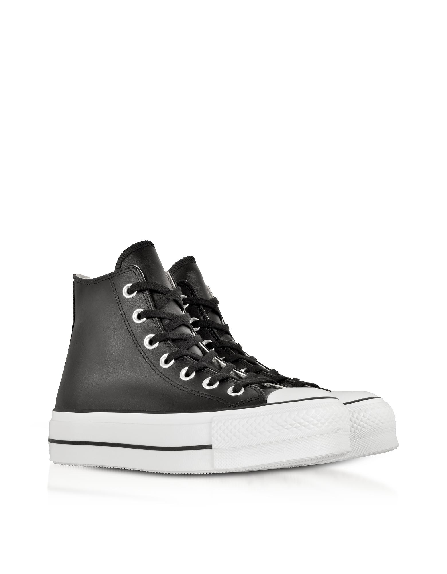 d997b907abd0 Converse Chuck Taylor All Star Lift Clean Black Leather High Top ...