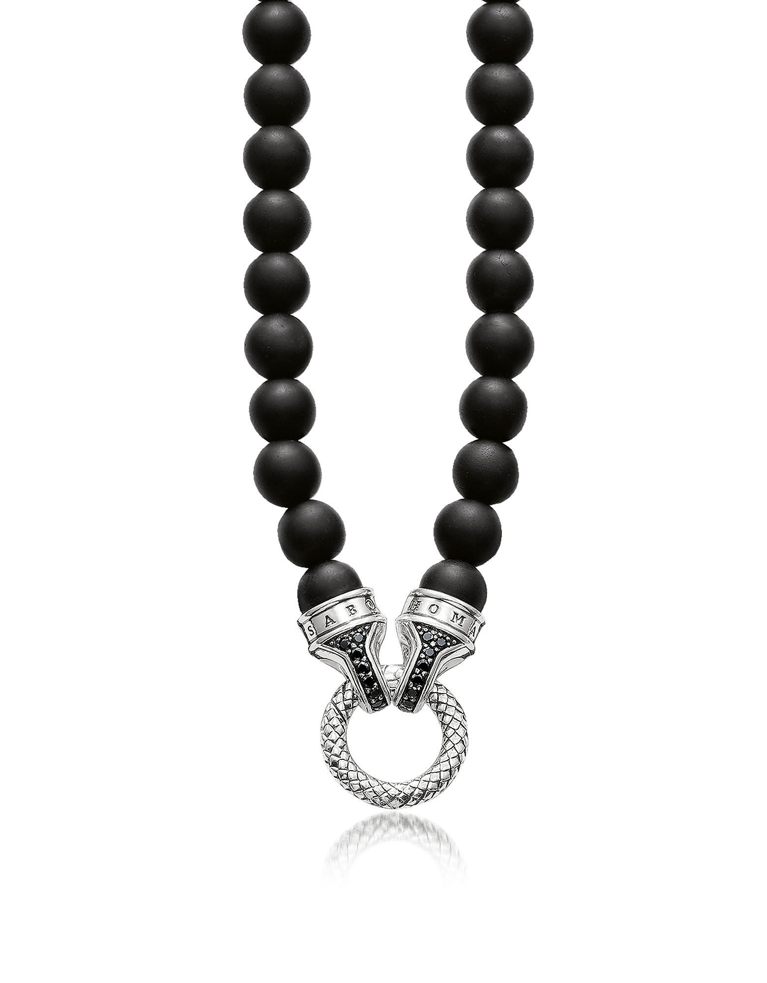 Details für Weg sparen großer Rabatt Herren-Halskette aus Sterlingsilber und Perlen aus Obsidian in schwarz