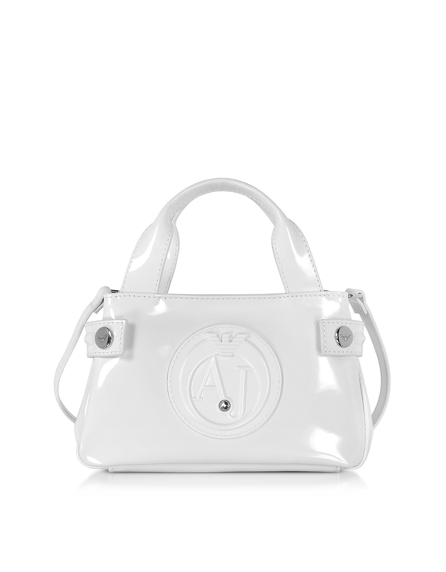 344b1481de58 Lyst - Armani Jeans Signature Mini Patent Leather Tote Bag in White