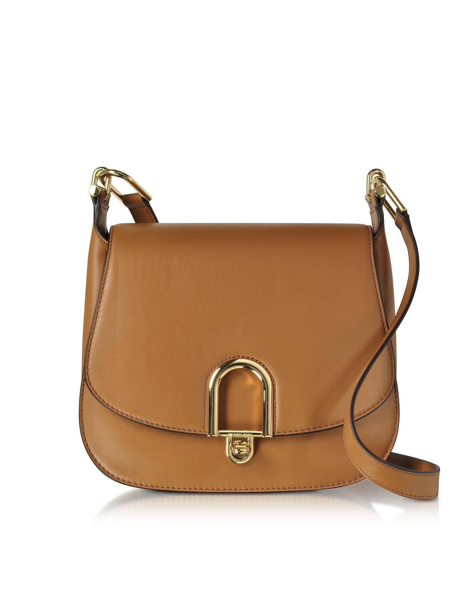 d4a7e42129 Michael Kors Delfina Large Acorn Leather Saddle Bag in Brown - Lyst