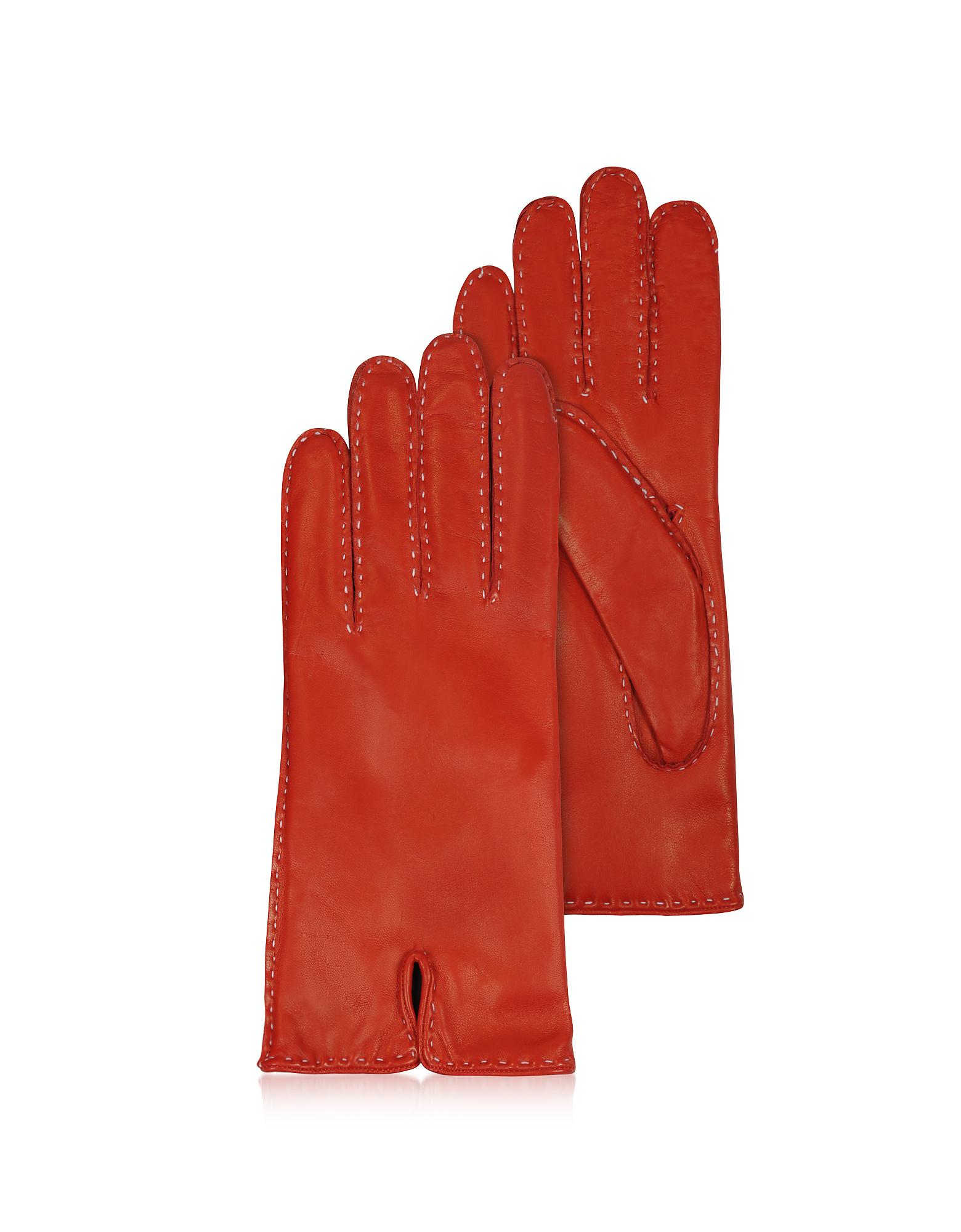 216b1bd7de03 Forzieri Women s Stitched Cashmere Lined Red Italian Leather Gloves ...