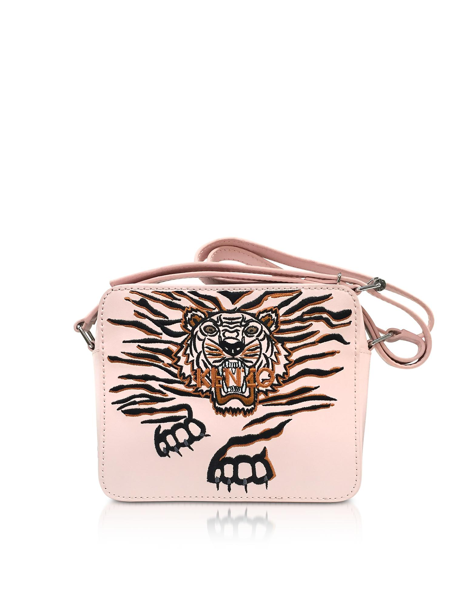 Kenzo Handbags, Faded Leather Geo Tiger Camera Bag w/Tiger Embroidery