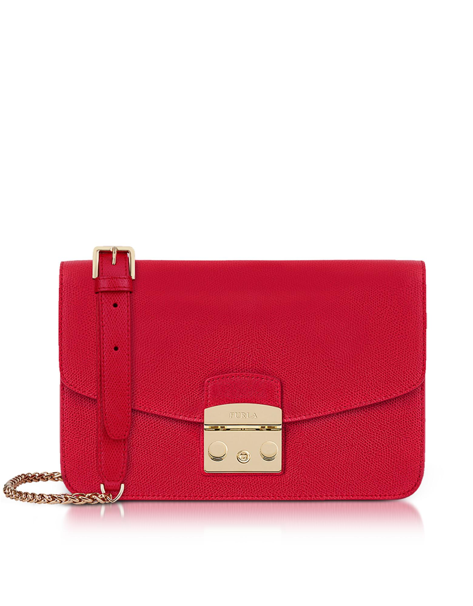 69634d4f518 Furla Ruby Red Lizard Printed Leather Metropolis Small Shoulder Bag ...