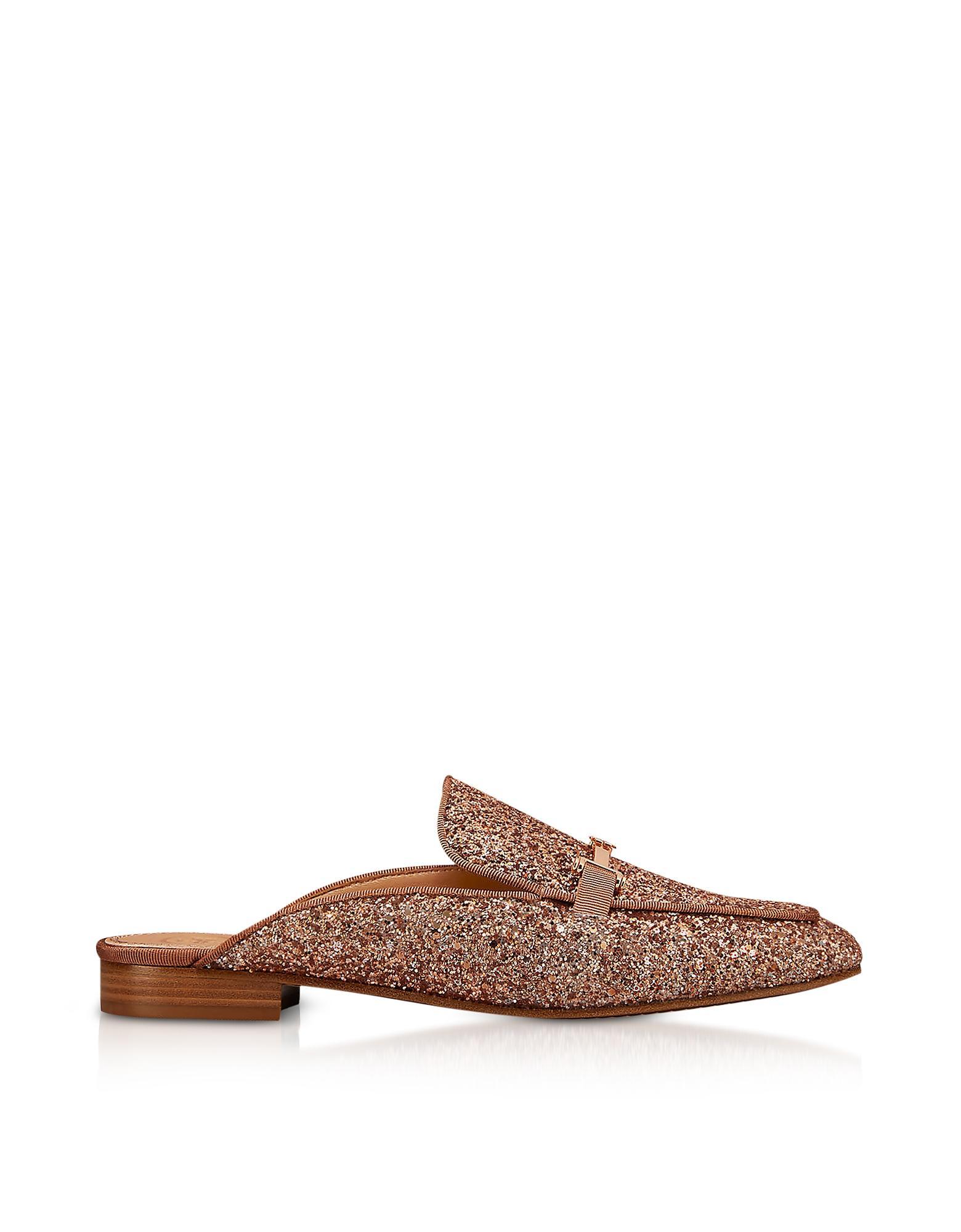 b419b99e0509 Tory Burch Amelia Glitter Rose Gold Mules in Brown - Lyst