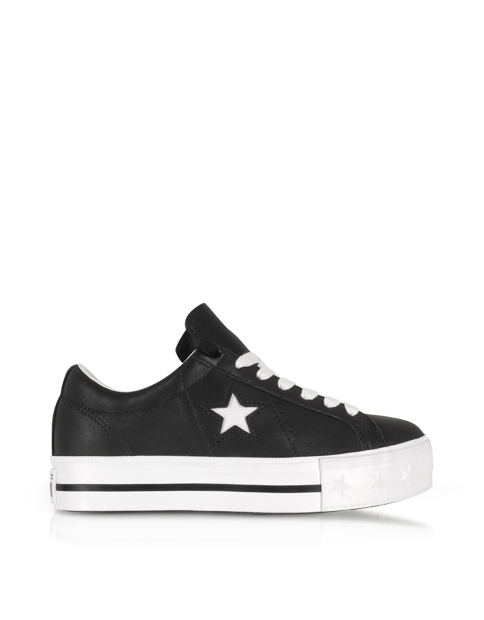 f0aa536d45b Converse Black And White One Star Platform Ox Women s Sneakers in ...