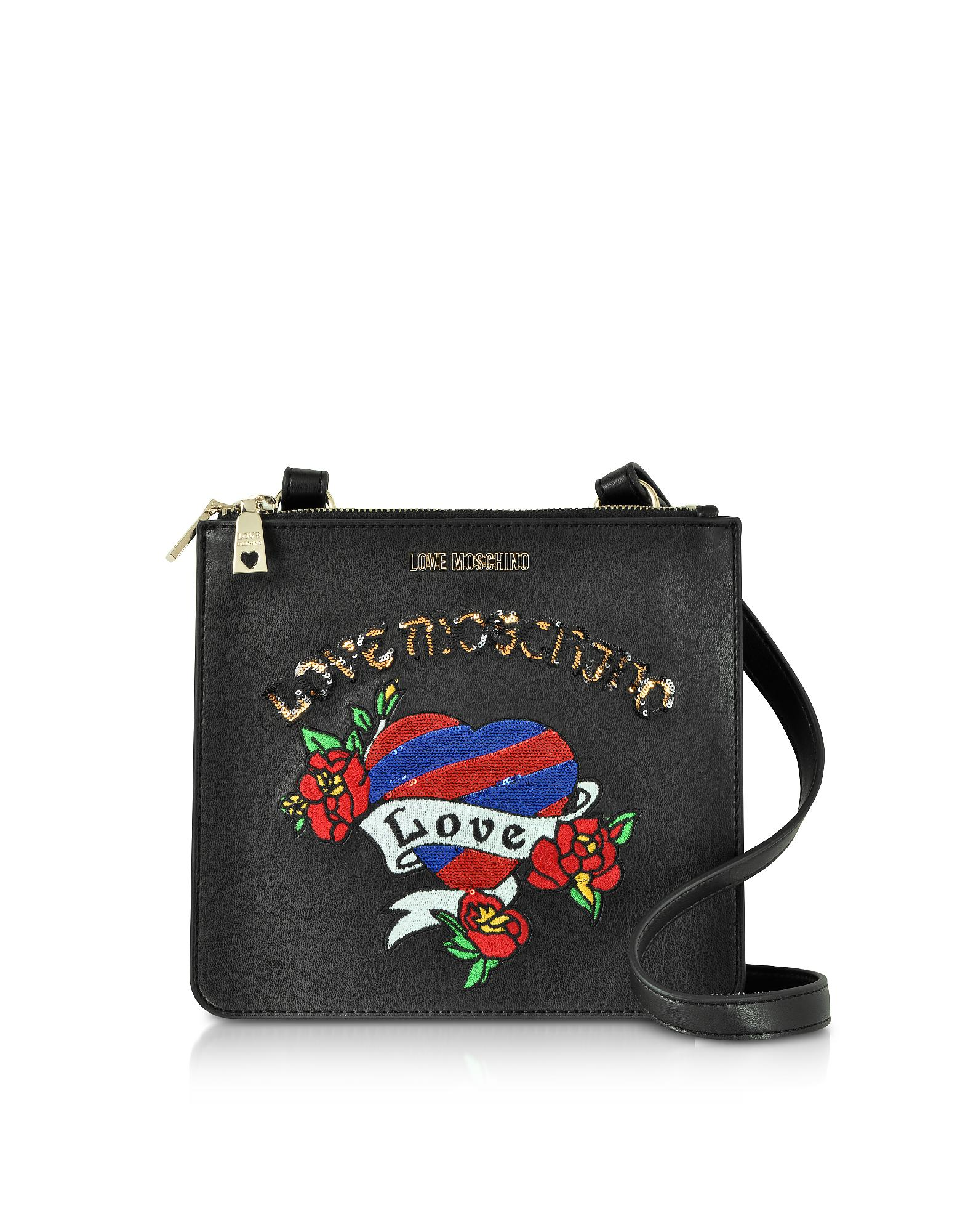 444f94eb8451 Love Moschino - Black Love Embroidered Shoulder Bag - Lyst. View fullscreen