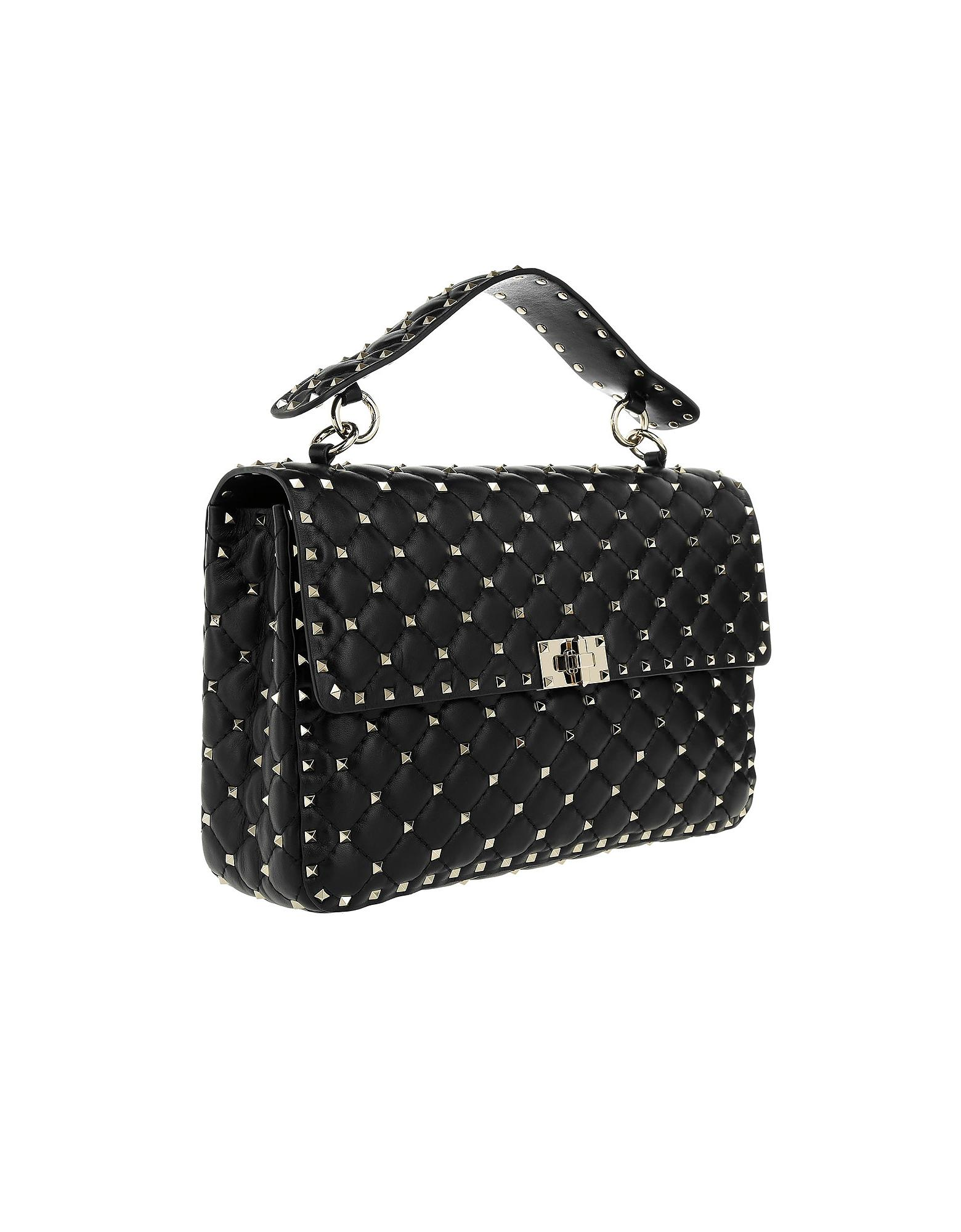 070bd33620ce Lyst - Valentino Rockstud Spike Nappa Large Crossbody Bag Black in Black