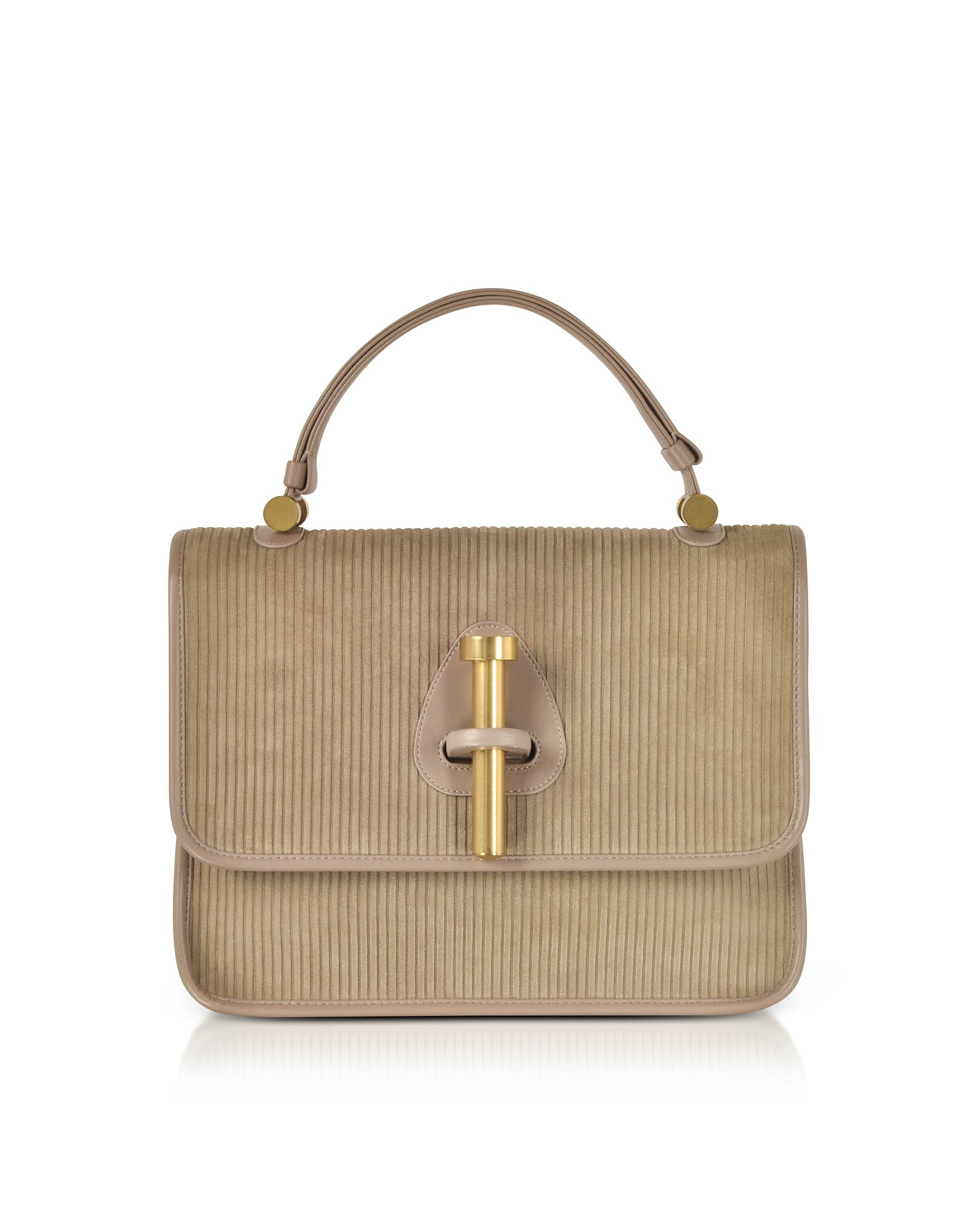 590d42f2ee72 Rodo. Women s Taupe Striped Suede And Leather Satchel Bag