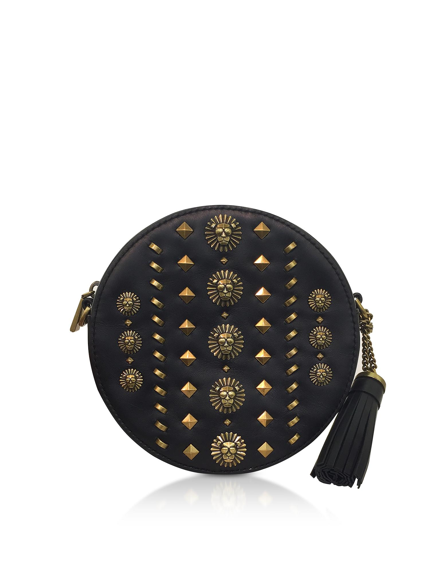 6e03f544d7bd9f Michael Kors Black Studded Polished Leather Canteen Crossbody in ...