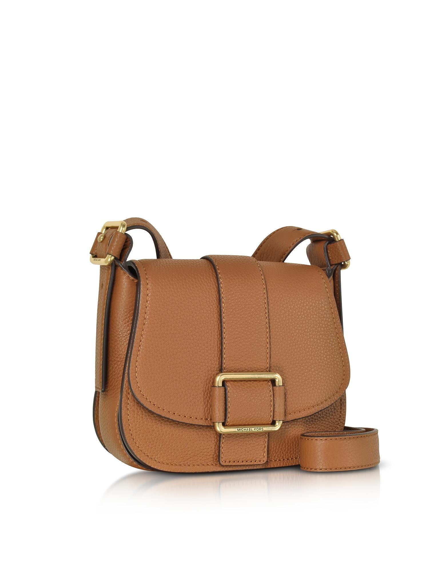 7f5ad6c907c3 Lyst - Michael Kors Maxine Medium Leather Saddle Bag in Brown