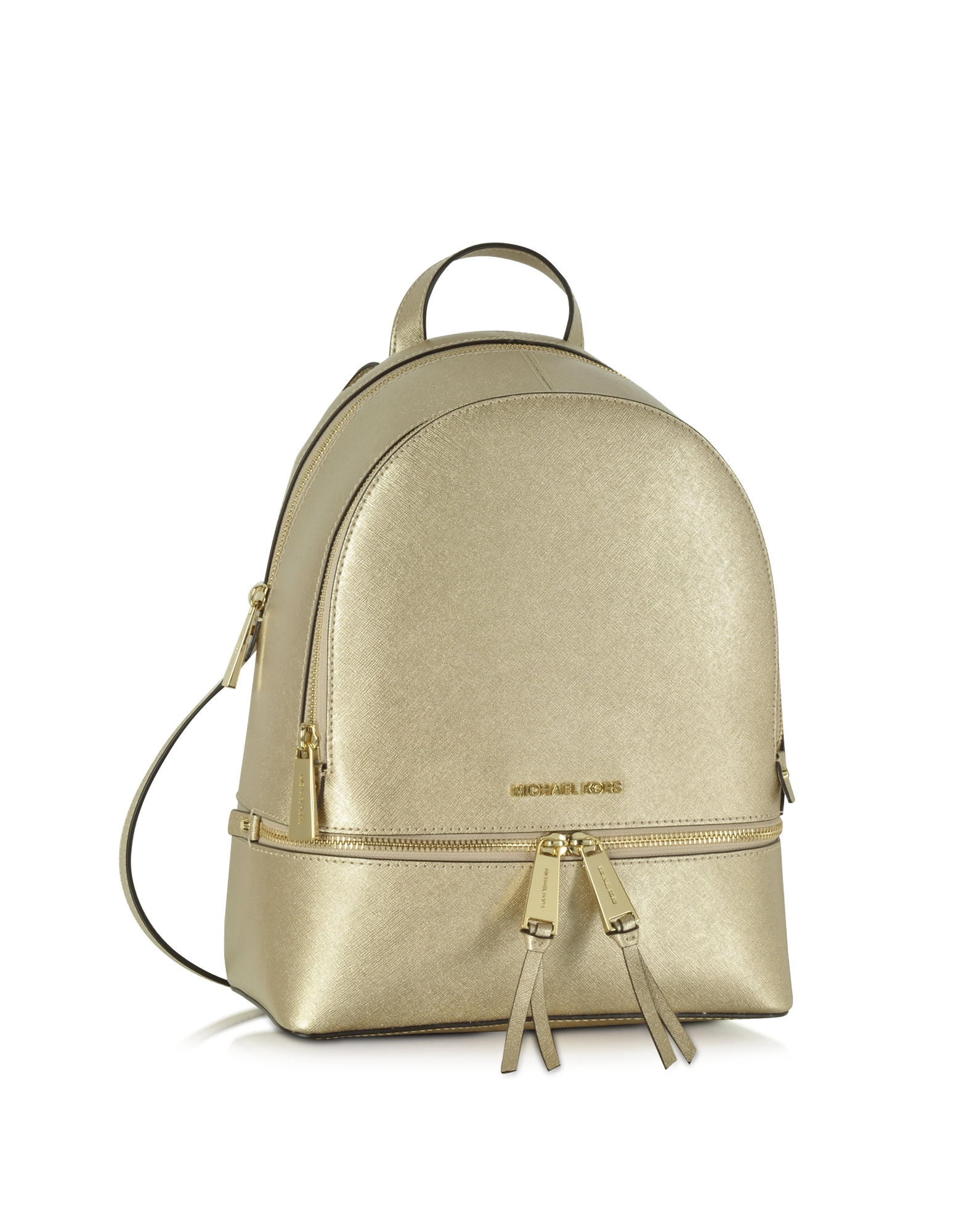 8055ce6d3e8085 ... best price lyst michael kors rhea zip pale gold medium backpack in me  0e374 646a6