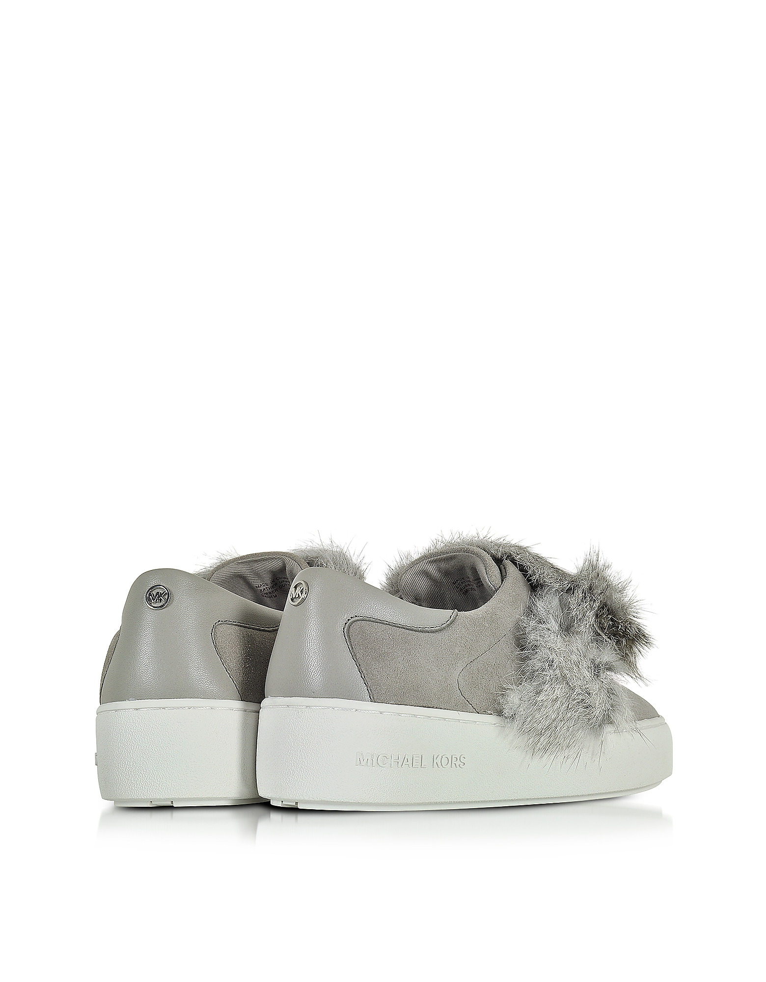 5216efa6a87 Lyst - Michael Kors Maven Pearl Grey Rabbit Fur And Suede Sneaker in ...