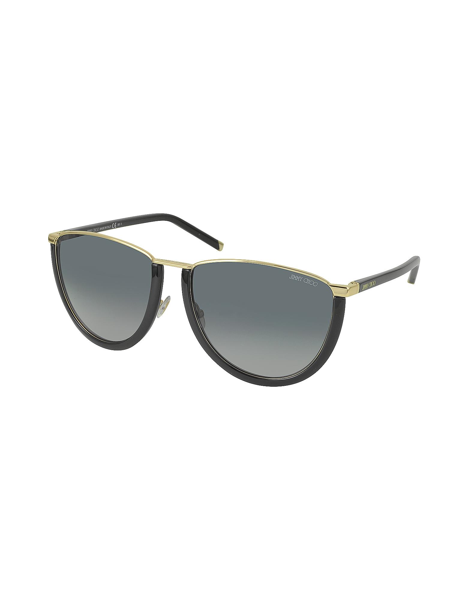 fbc7c8ad2db Lyst - Jimmy Choo Mila s Wl4hd Gold And Black Women s Sunglasses in Black