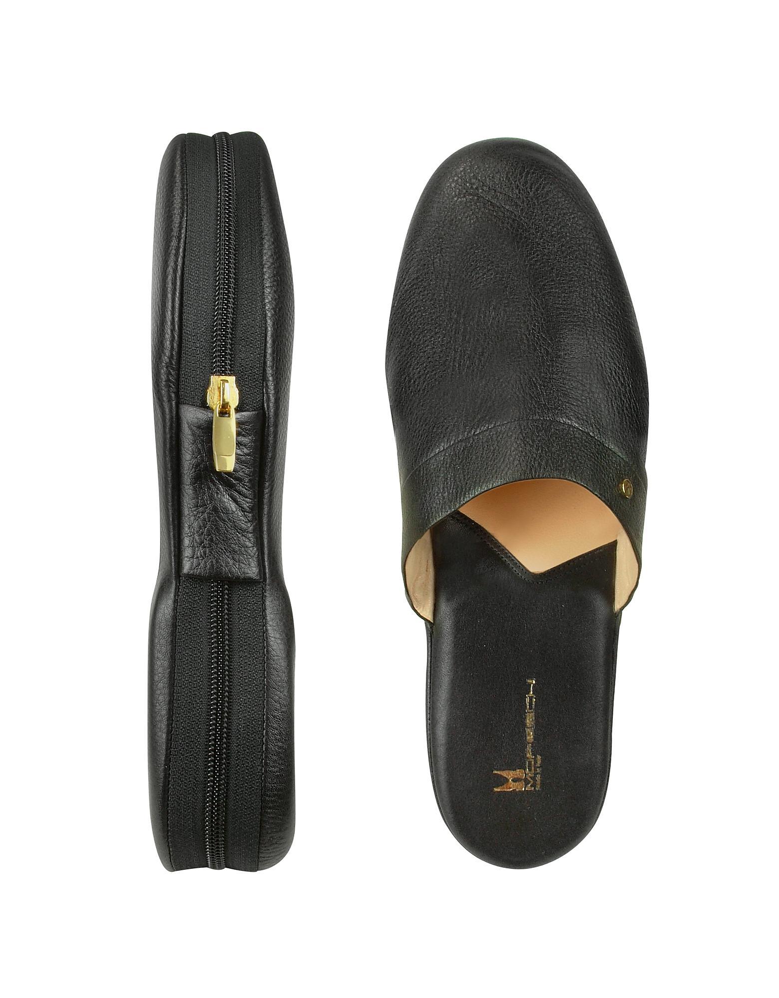 Moreschi Amerigo Black Calf Leather Travel Slippers W