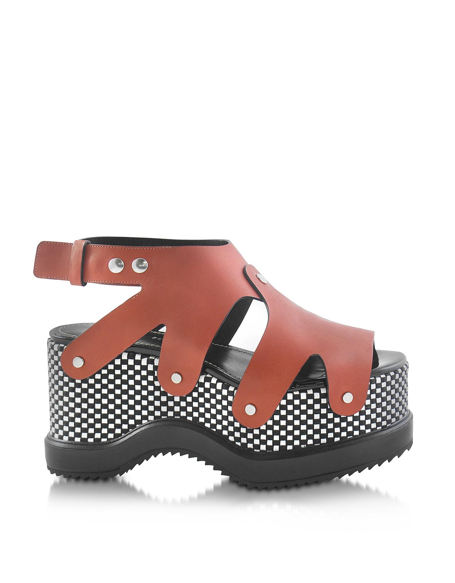 Proenza Schouler Shoes, Nappa Leather Sandal w/Optical Print Wedge