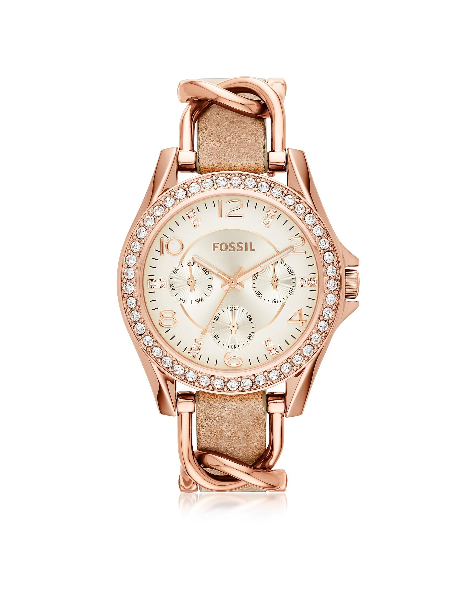 Fossil Riley Rose Gold Tone Stainless Steel Case And Nude ...