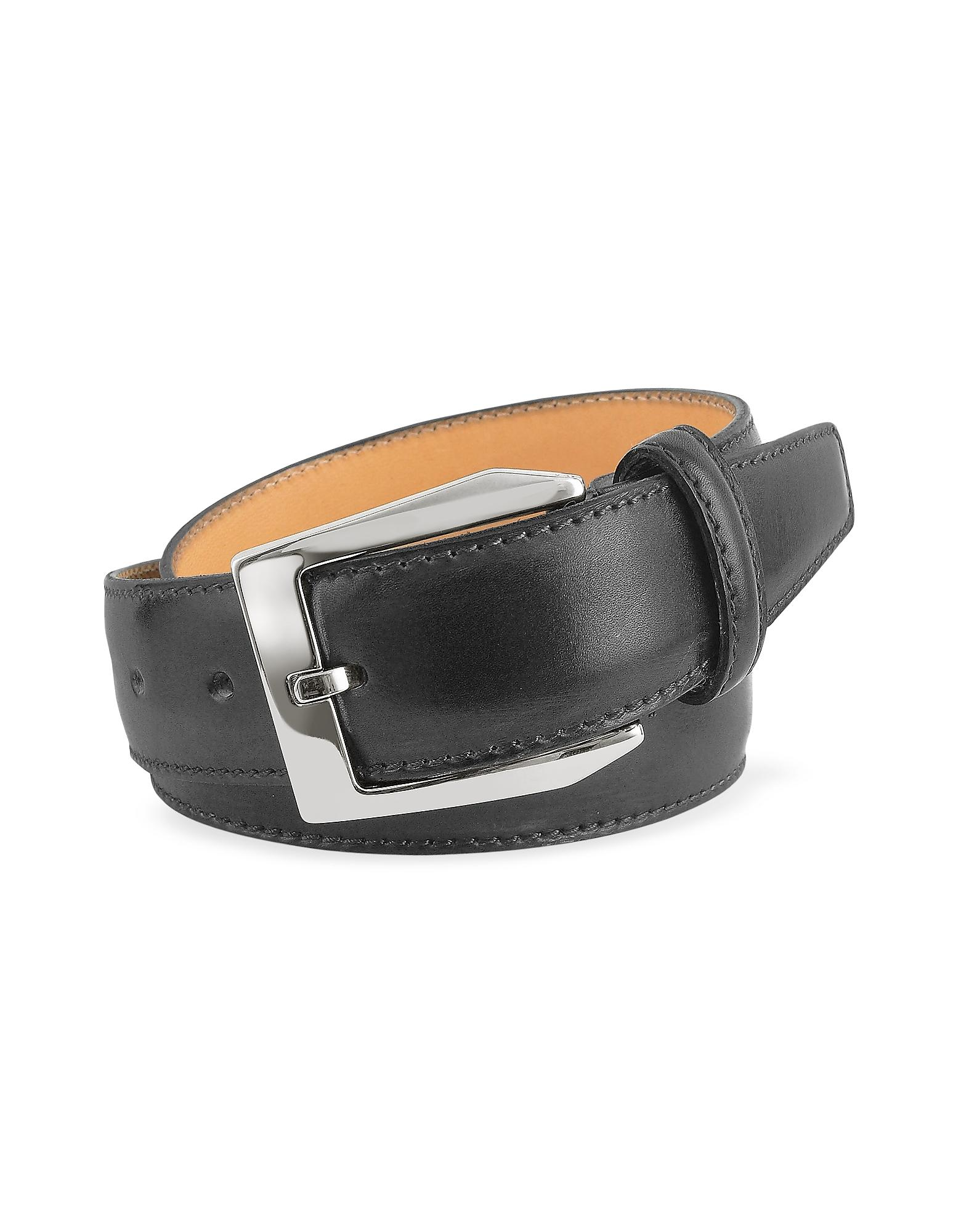Pakerson Men's Black Hand Painted Italian Leather Belt in ...