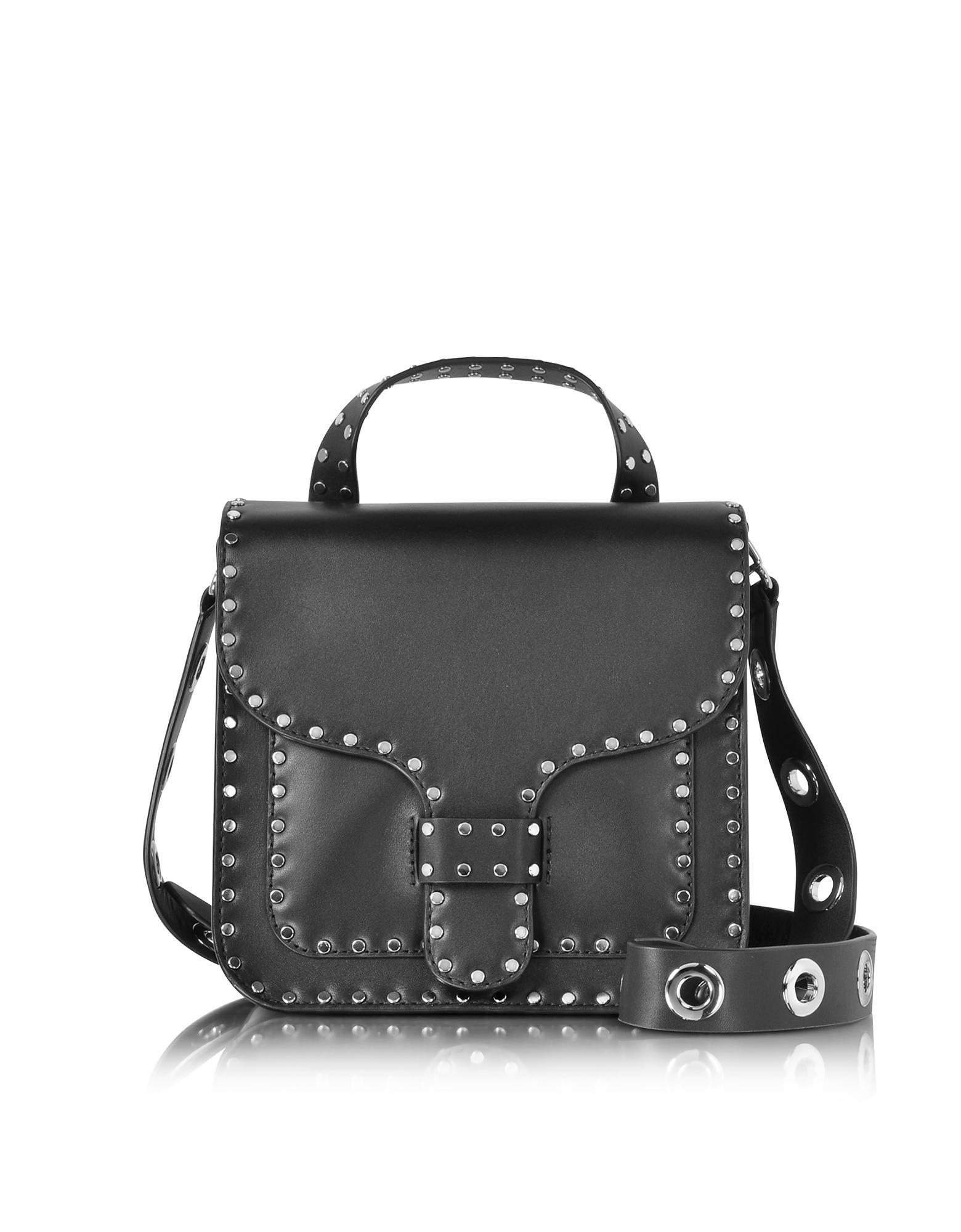 Rebecca Minkoff Black Studded Leather Midnighter Top