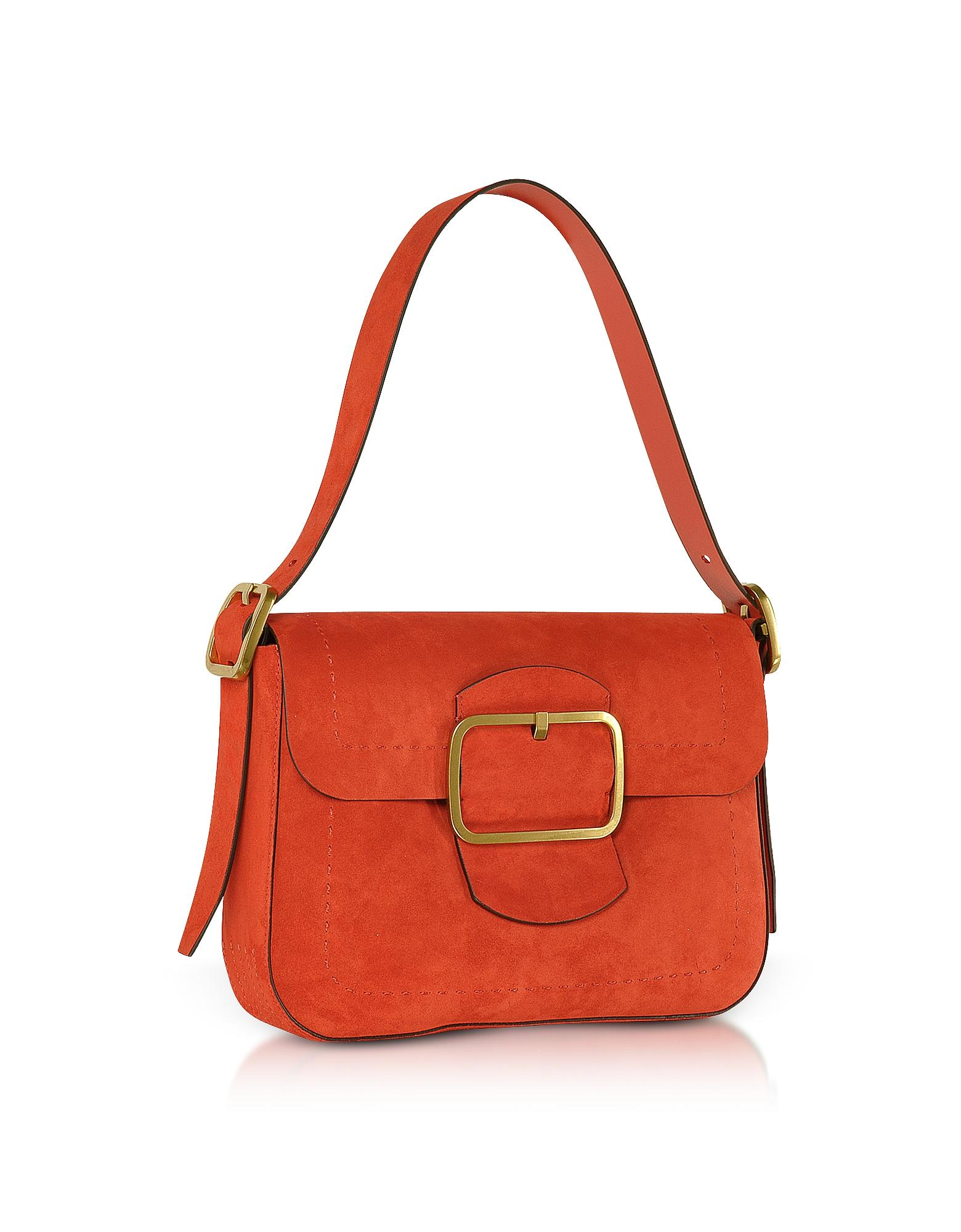 ff801946b2c3 Tory Burch Sawyer Red Suede Shoulder Bag in Red - Lyst