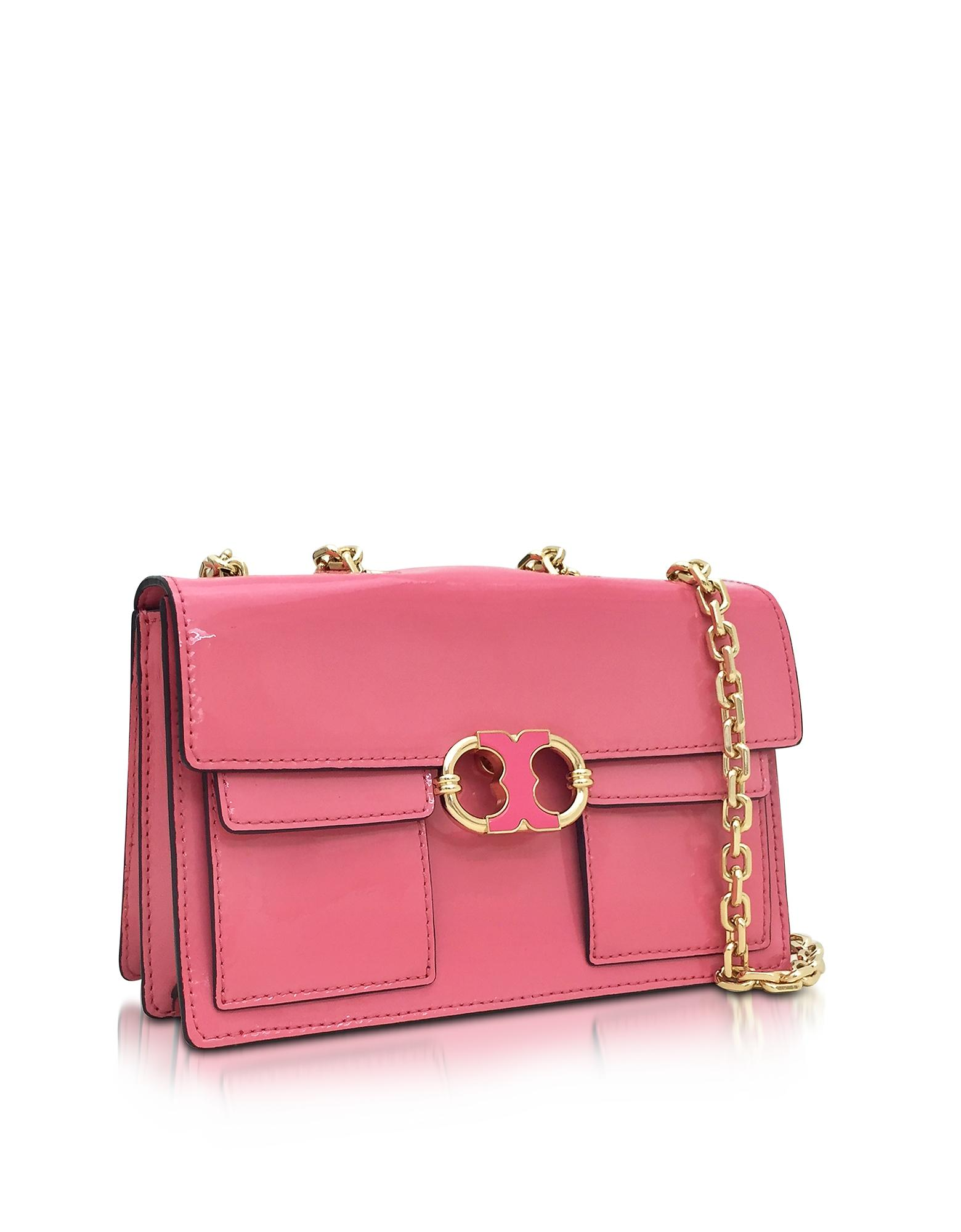 Lyst Tory Burch Gemini Link Cosmo Pink Patent Leather Chain Shoulder Bag In Pink