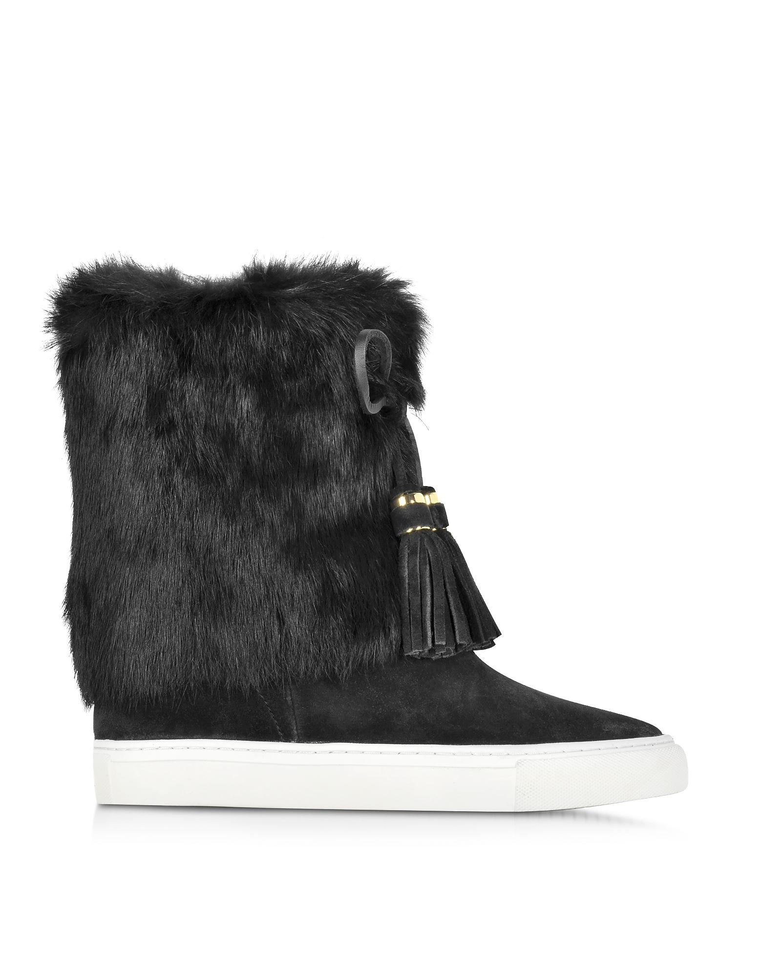 9b73695d9014 Tory Burch Anjelica Suede and Rabbit-Fur Boots in Black - Save ...