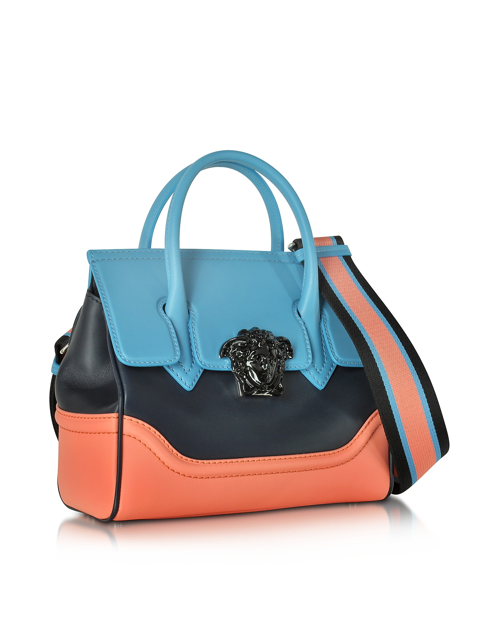 36d66574c5b7 Lyst - Versace Small Palazzo Empire Color Block Leather Tote Bag in Pink