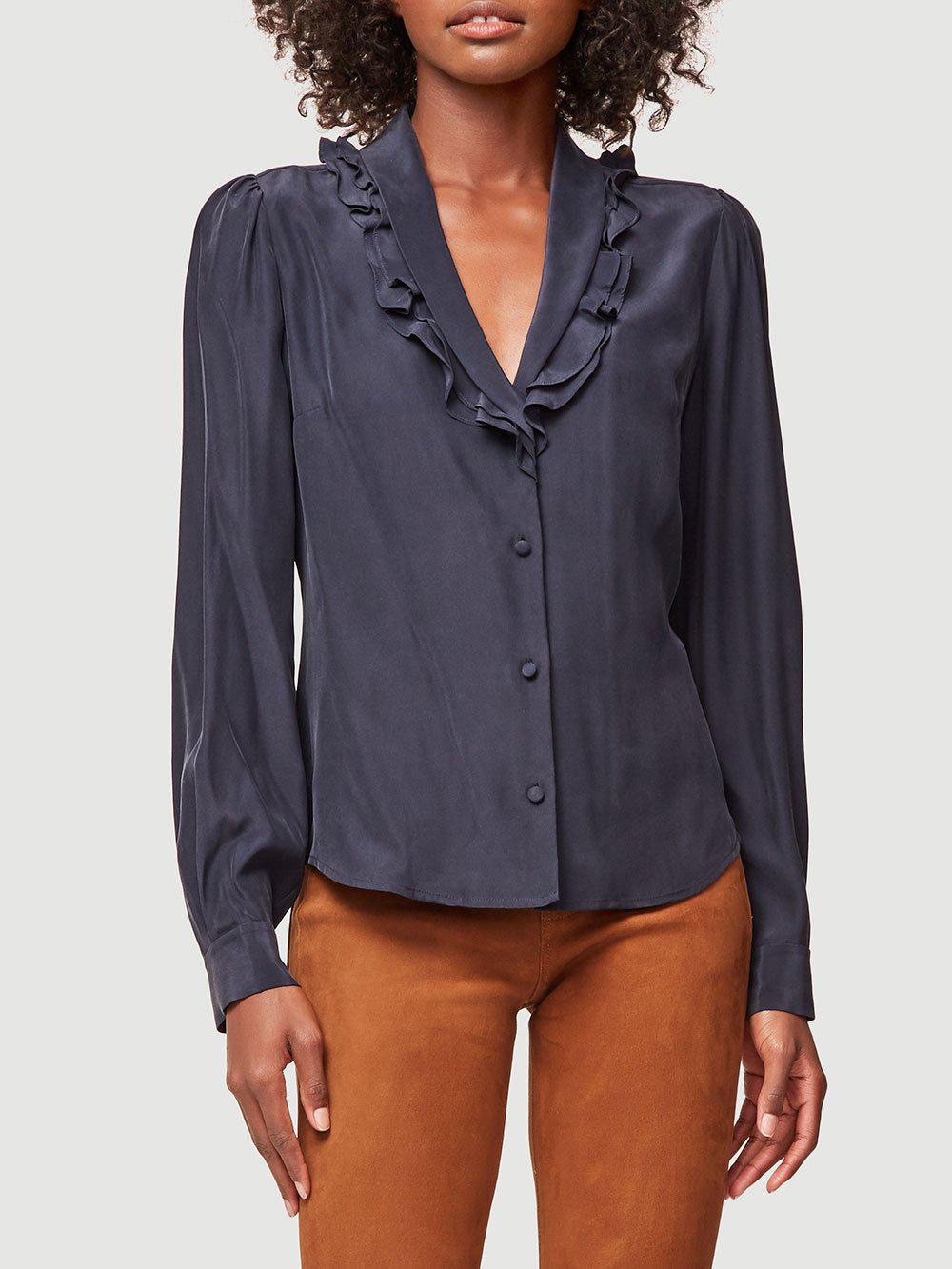 1f3fbd92114648 Frame Lettuce Collar Silk Top in Blue - Lyst