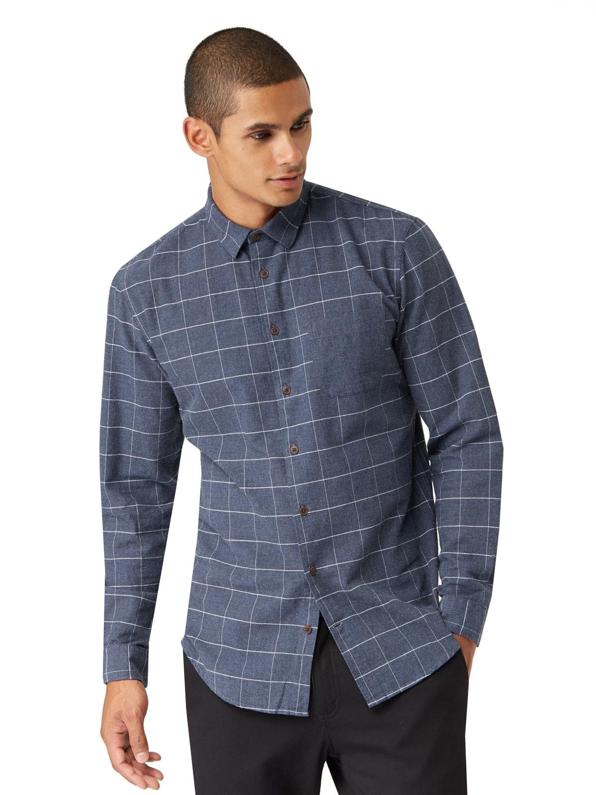 Frank oak elbow patch windowpane flannel shirt in navy for Mens flannel shirt with elbow patches