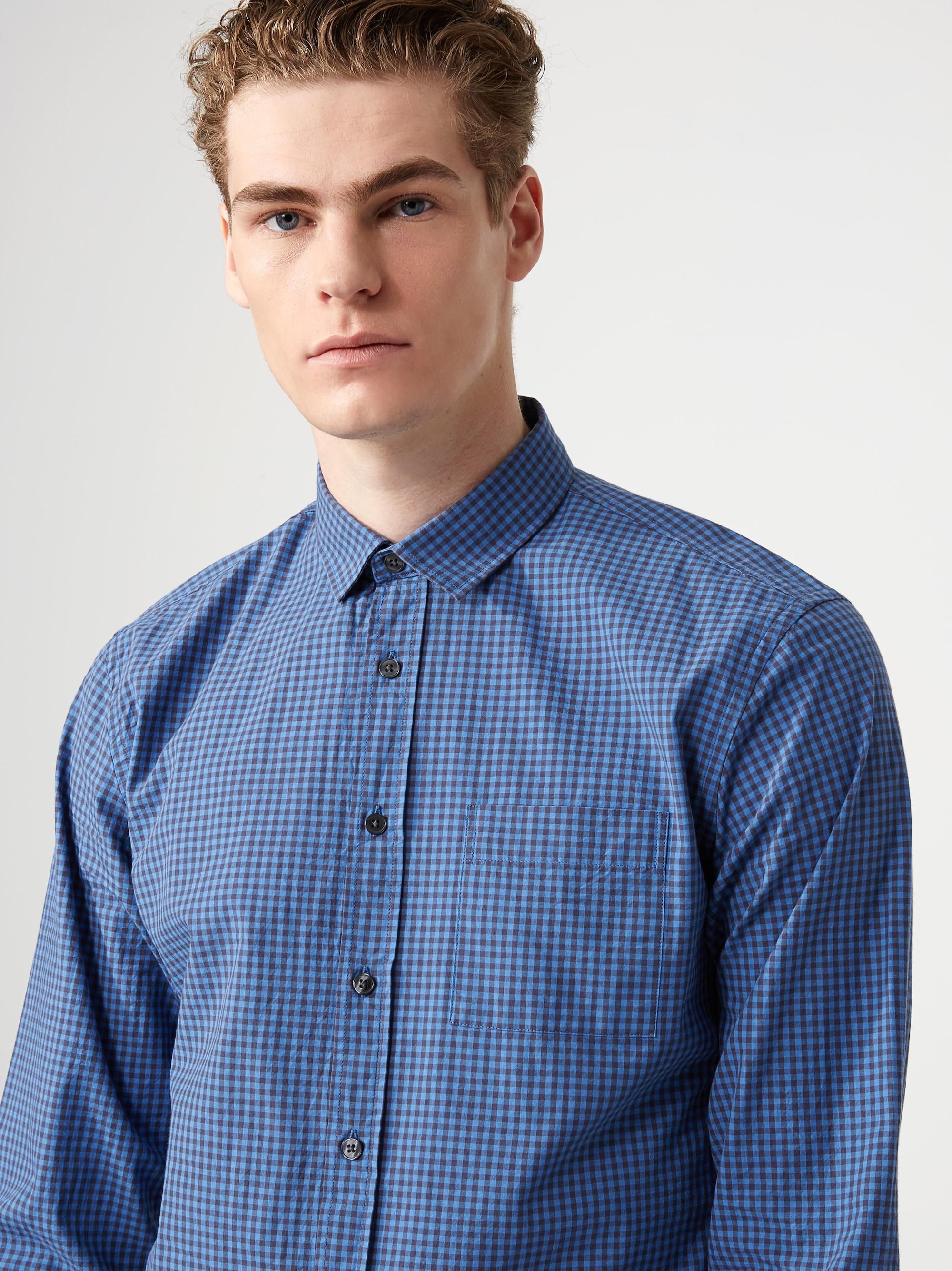 Frank oak mini gingham check poplin shirt in riviera in for Frank and oak shirt