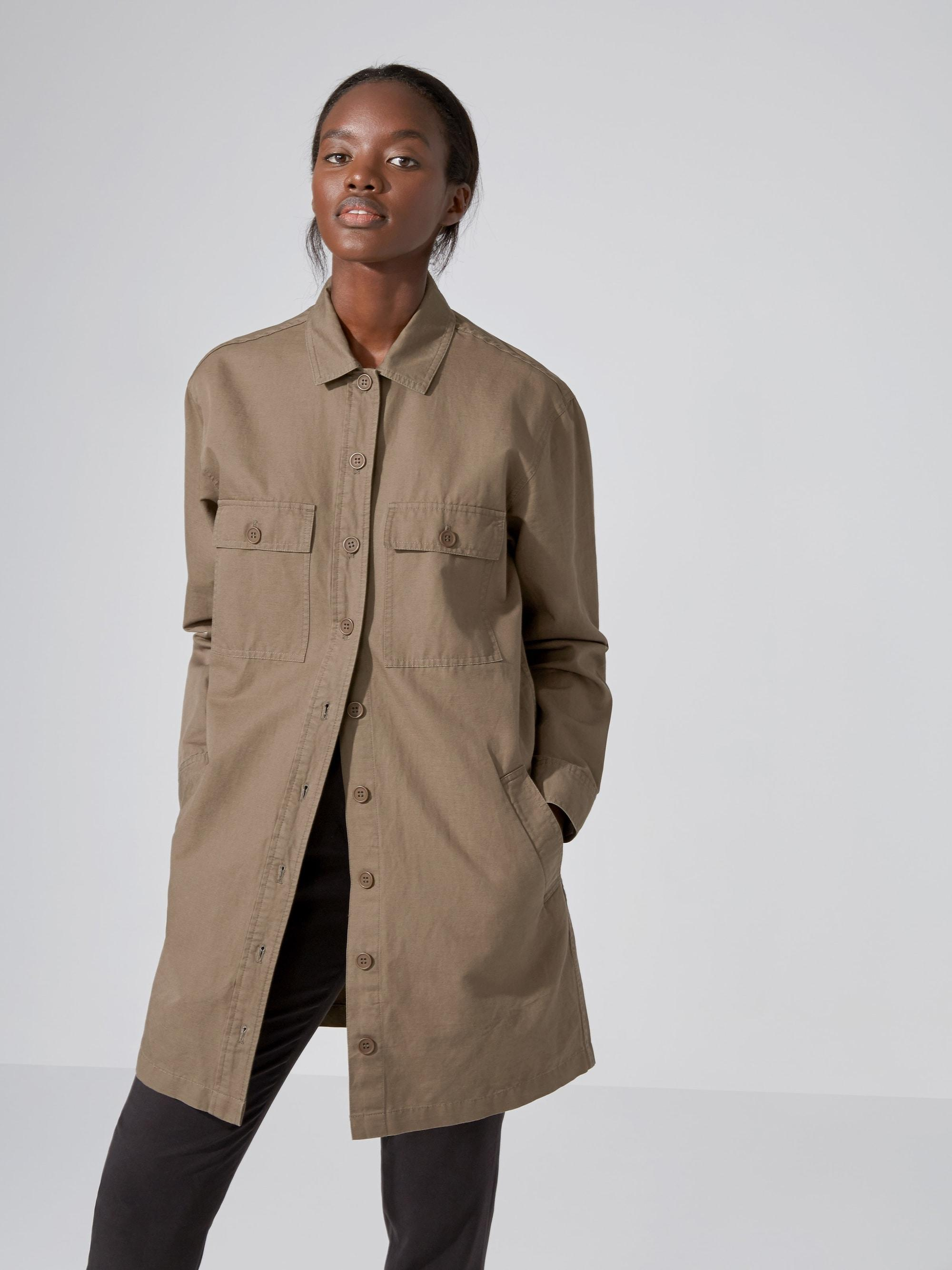 Frank oak long cotton linen overshirt in olive in green for Frank and oak shirt