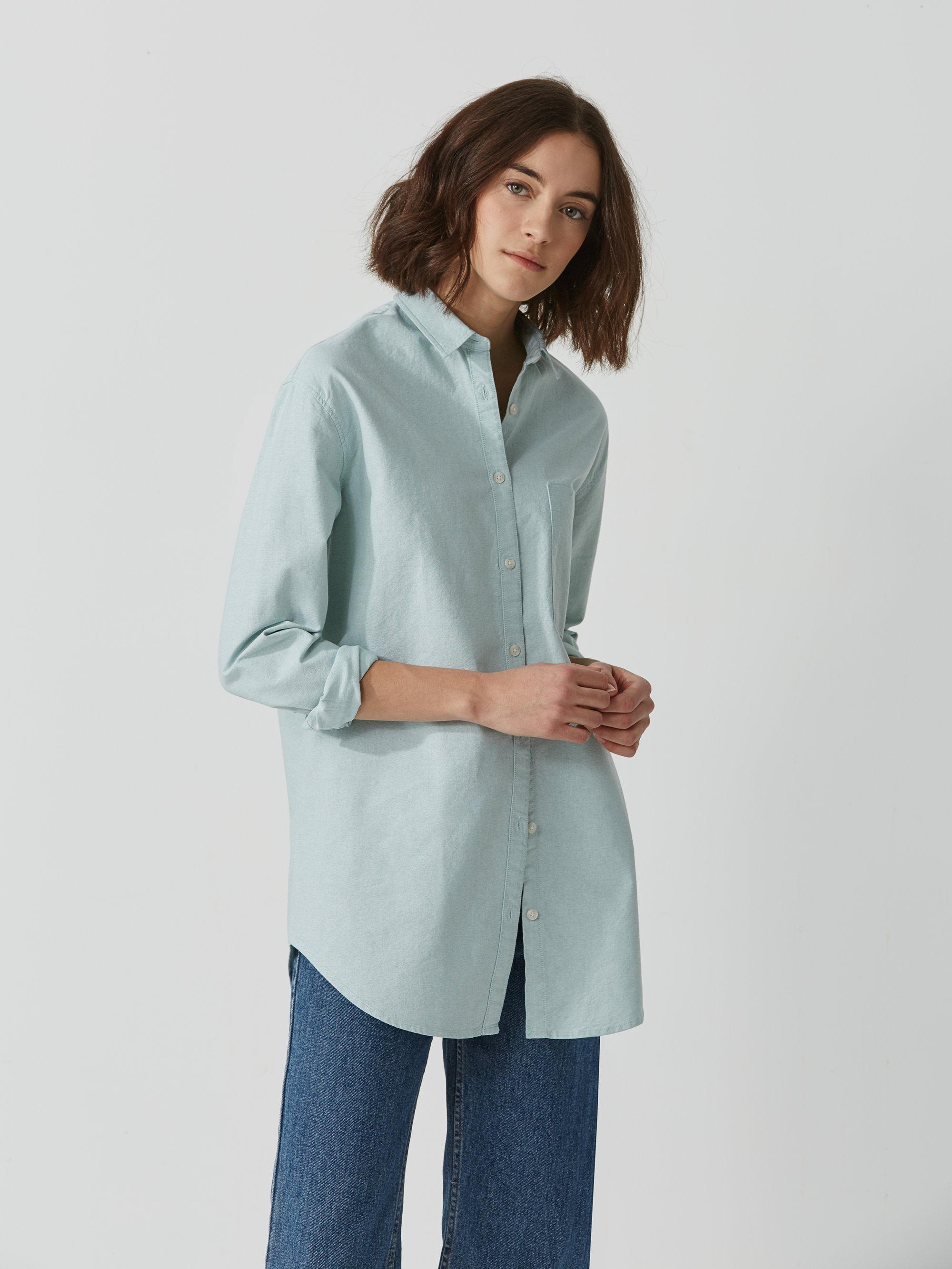 Frank oak boyfriend oxford shirt in mint in blue lyst for Frank and oak shirt