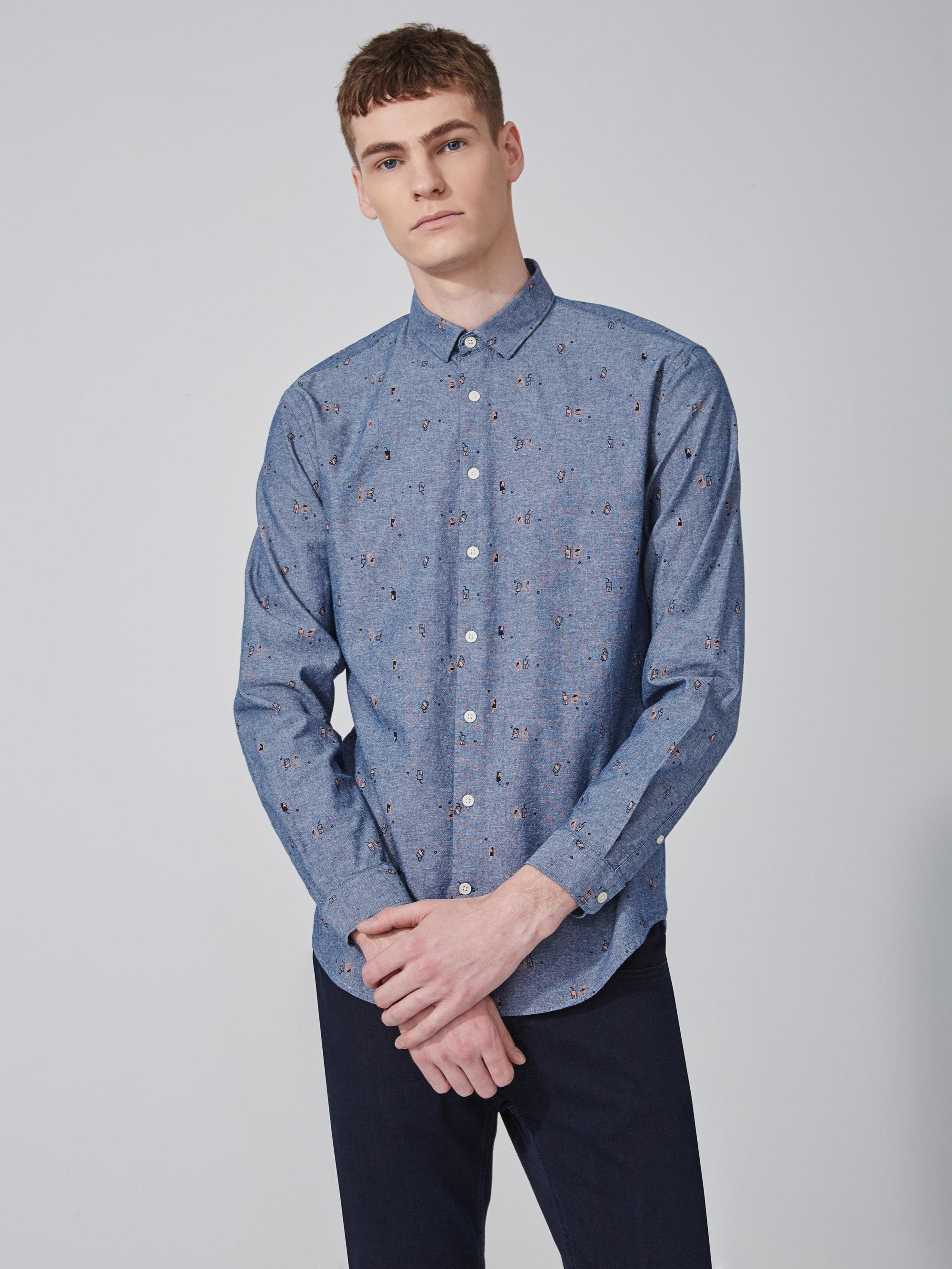 frank oak soda print chambray cotton shirt in blue in