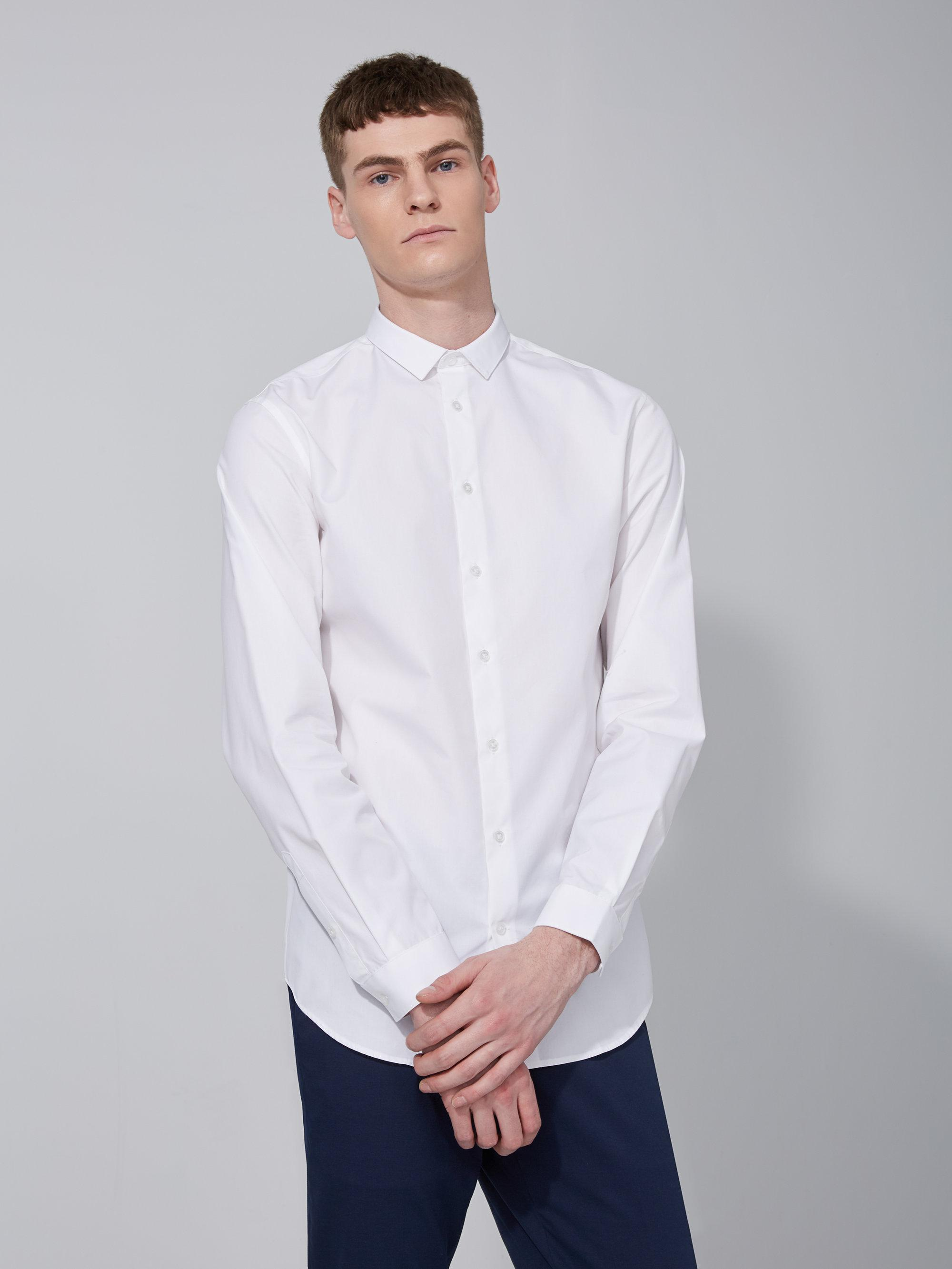 Frank and oak easy care cotton shirt in bright white in for Frank and oak shirt