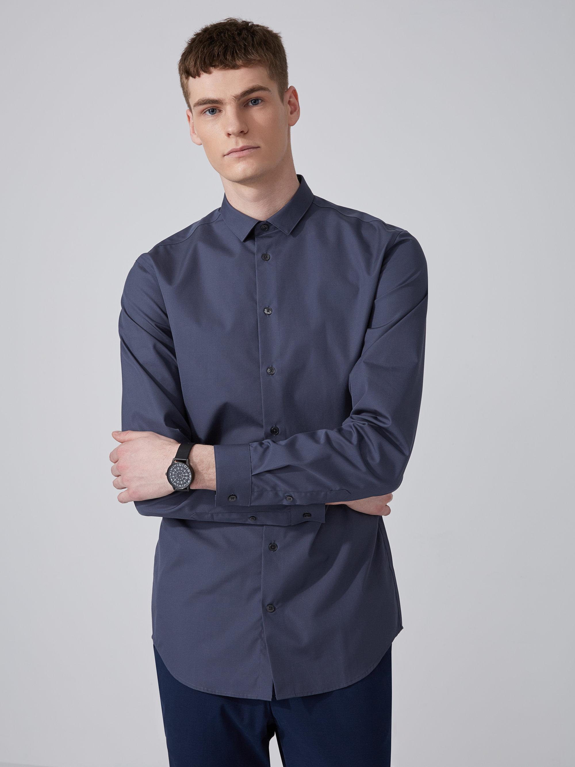 Frank and oak easy care cotton shirt in ombre blue in blue for Frank and oak shirt