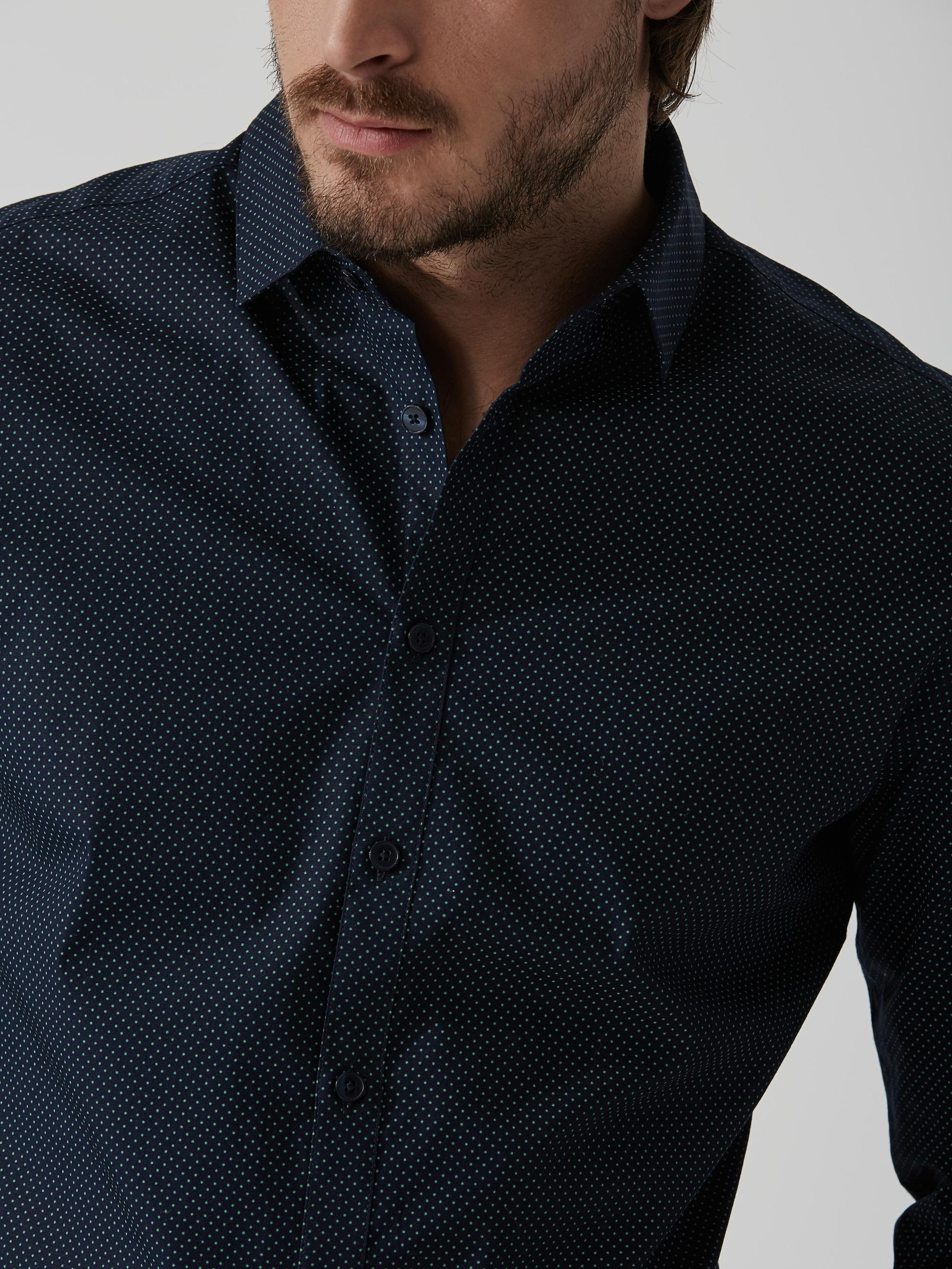 Lyst frank oak the andover stretch dress shirt in navy for Frank and oak shirt