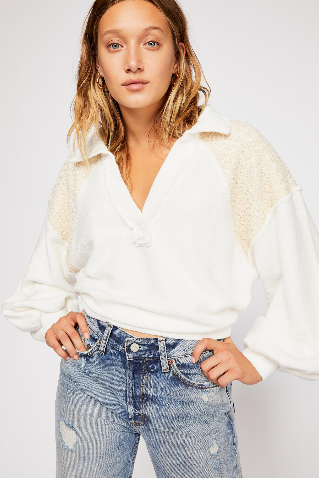 3af22463218f Lyst - Free People Seaside Pullover By Fp Beach in White
