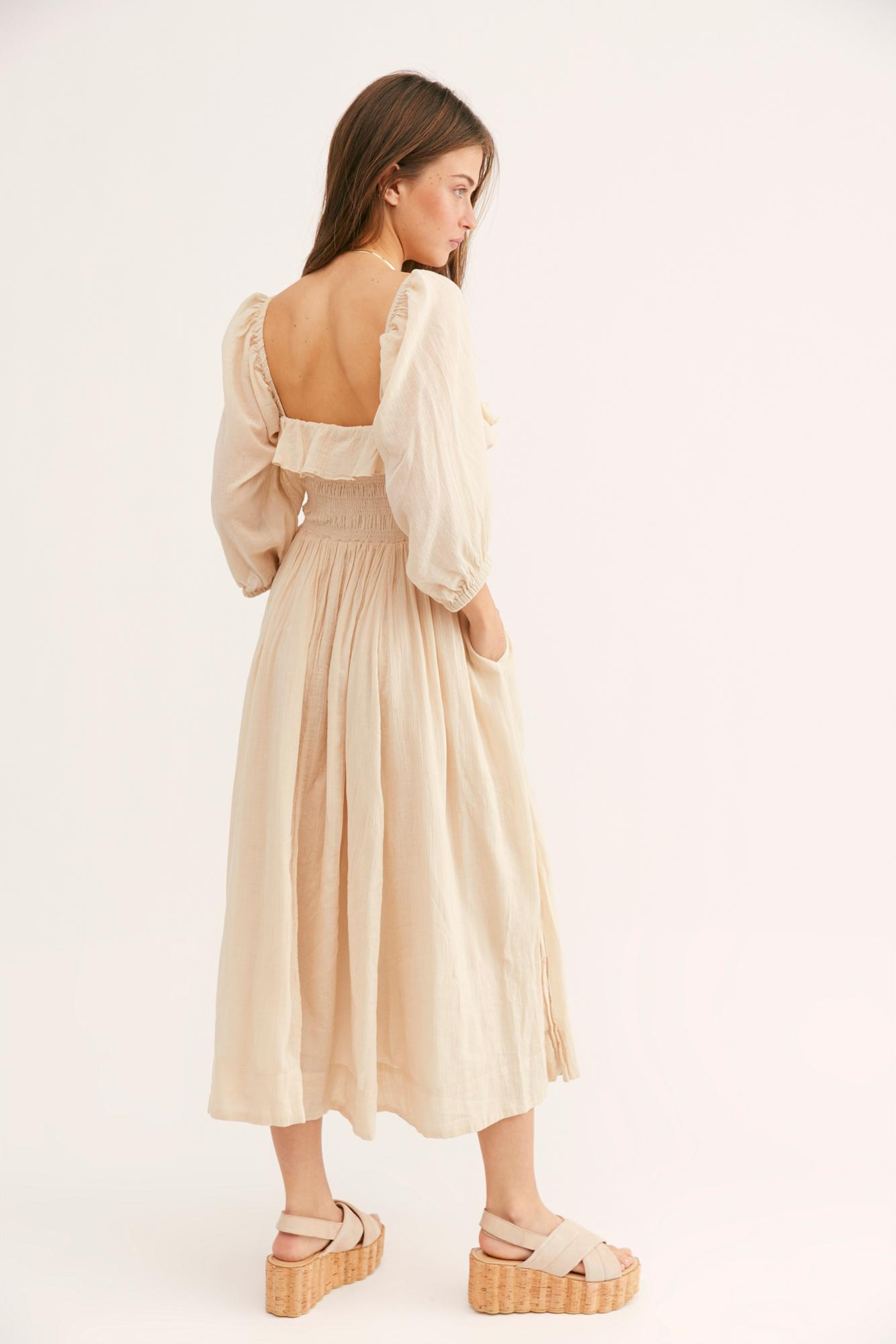 8be3a6be1f7f Free People Oasis Midi Dress in Natural - Lyst