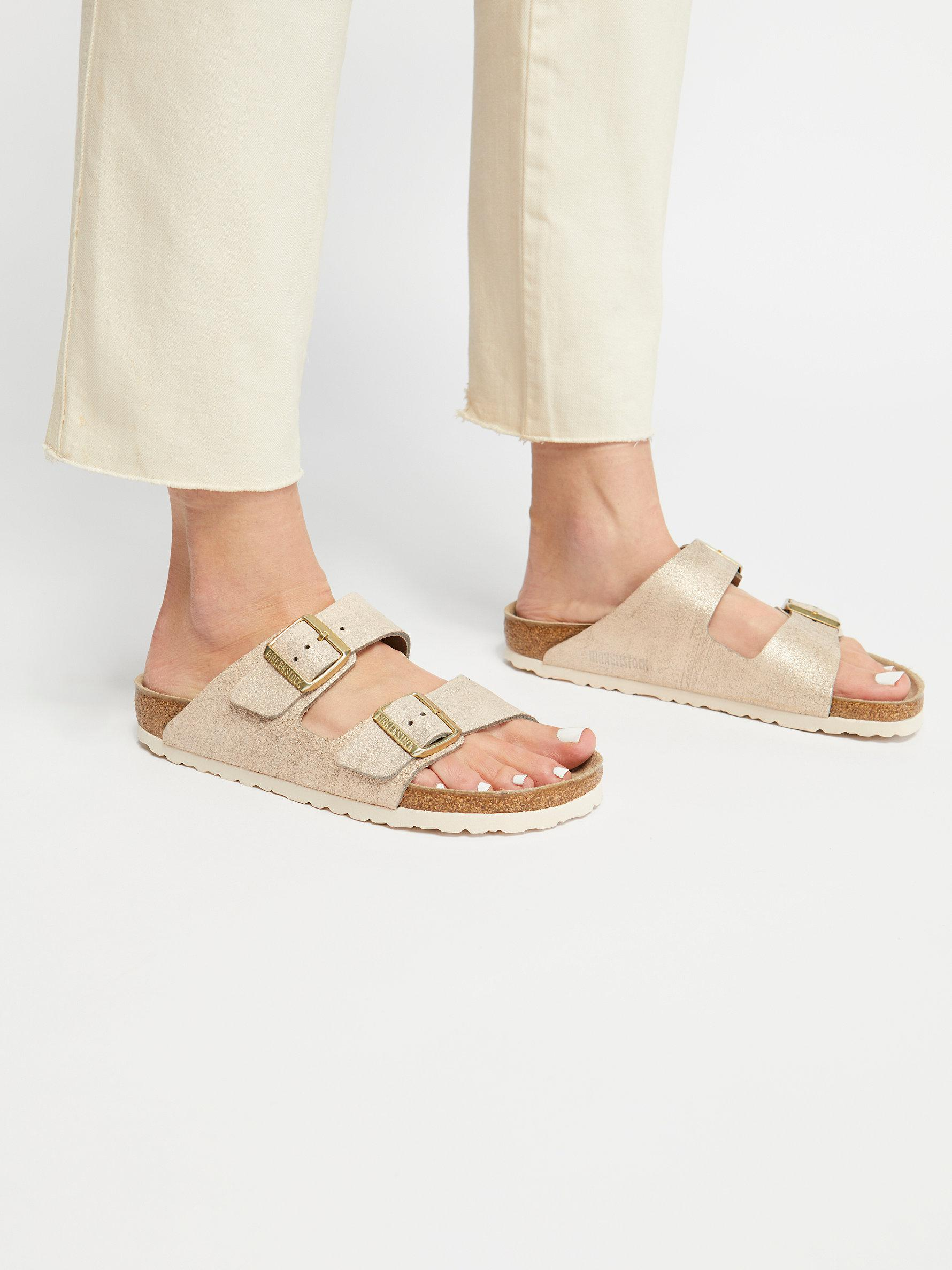 d38dfce95897 Lyst - Free People Arizona Washed Metallic Birkenstock Sandal in ...