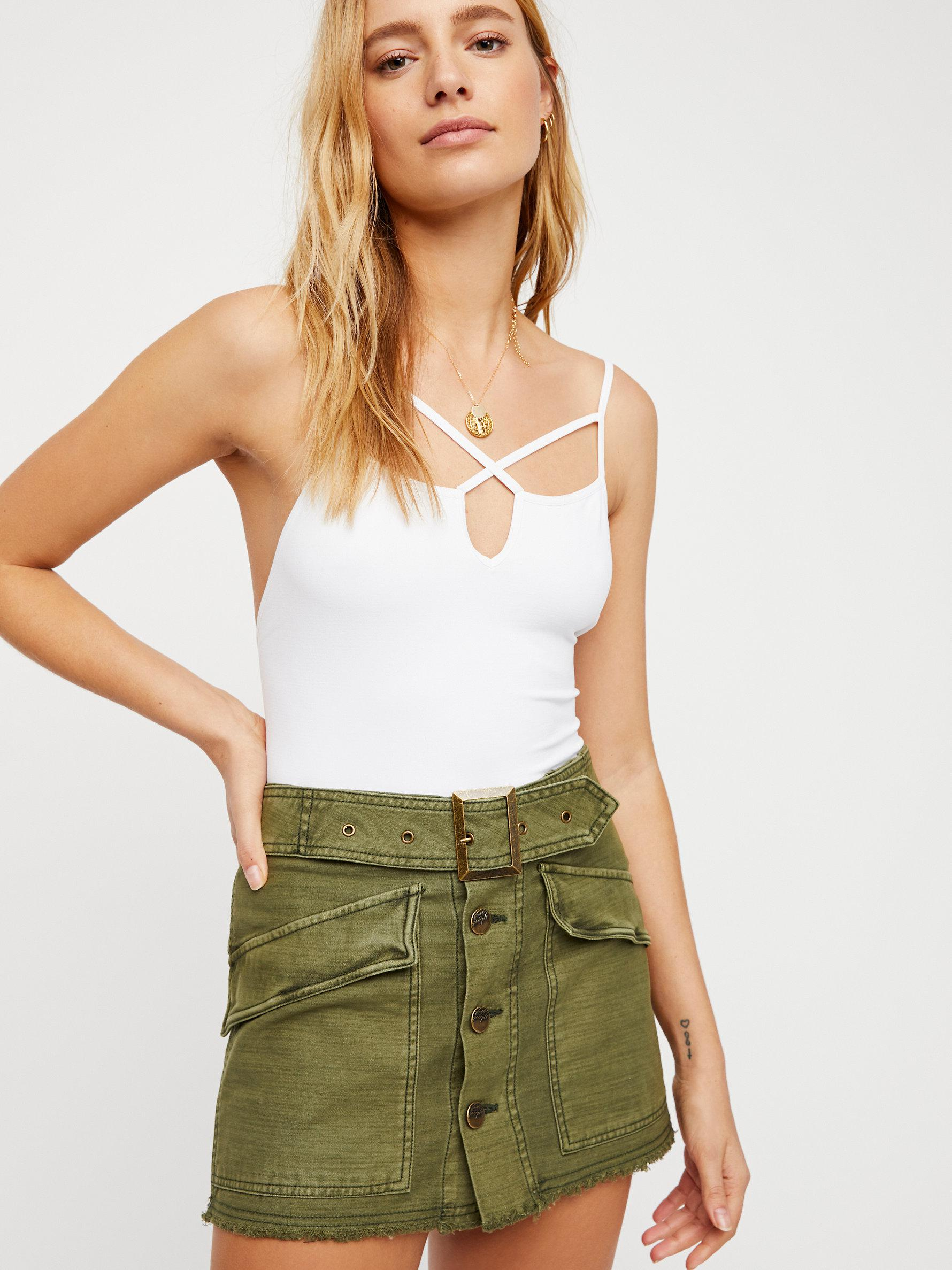 ec3e47cae1d7 Free People Hanging On Tight Mini Skirt in Green - Lyst