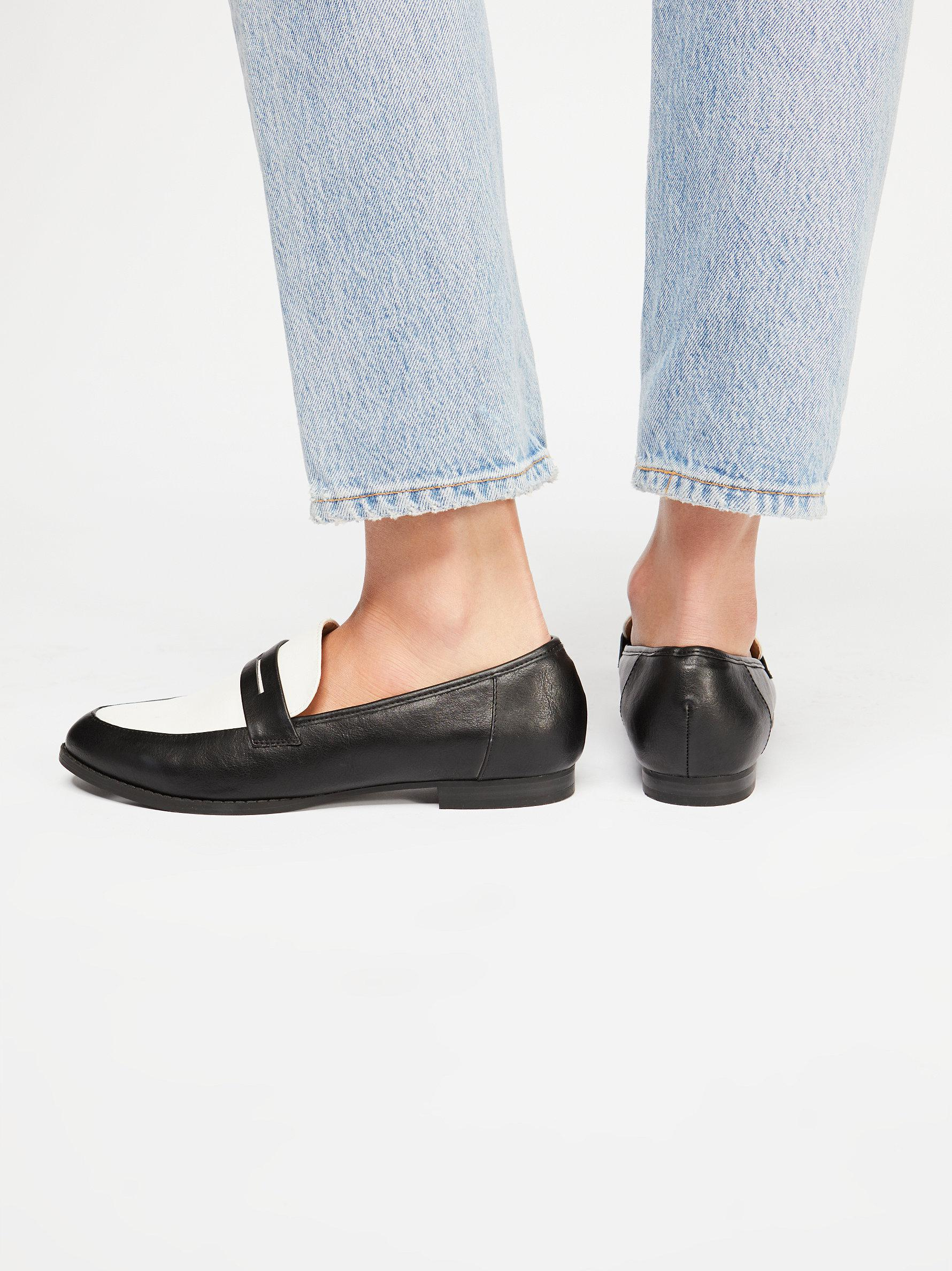 ae4e3f602aa Lyst free people lou penny loafer in black jpg 1780x2375 Stacking lou penny